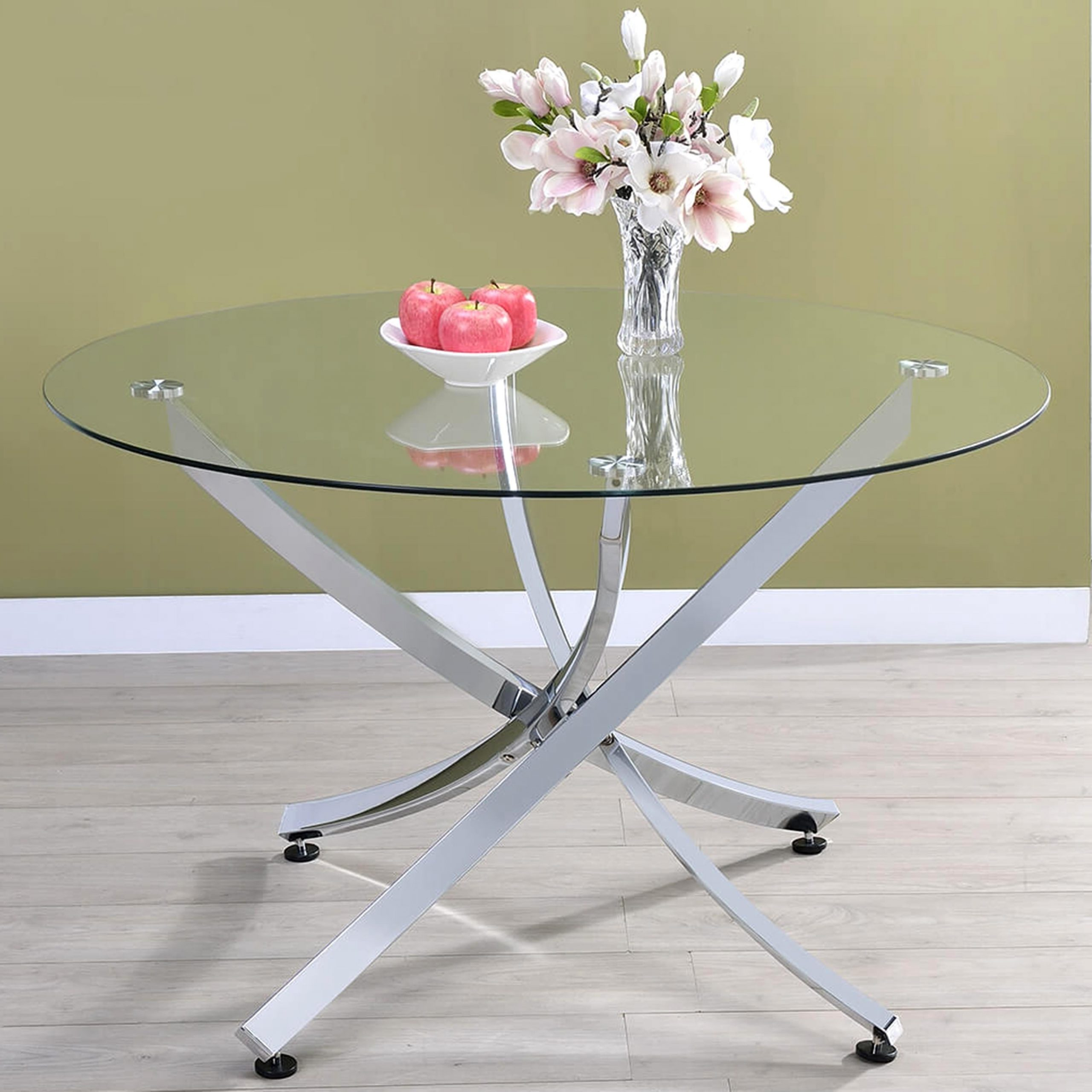 Chrome Dining Tables With Tempered Glass For Fashionable Modern Chrome Artistic Design Round Dining Table With Tempered Glass Top (View 15 of 30)