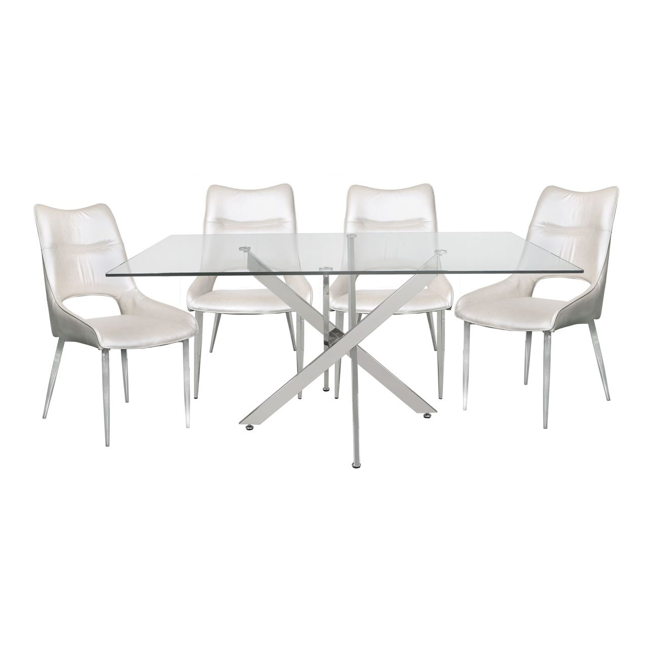 Chrome Dining Tables With Tempered Glass Regarding Most Up To Date Details About Tempered Glass Steel Chrome Rectangular Dining Table And 4 White Adelaide Chairs (View 10 of 30)