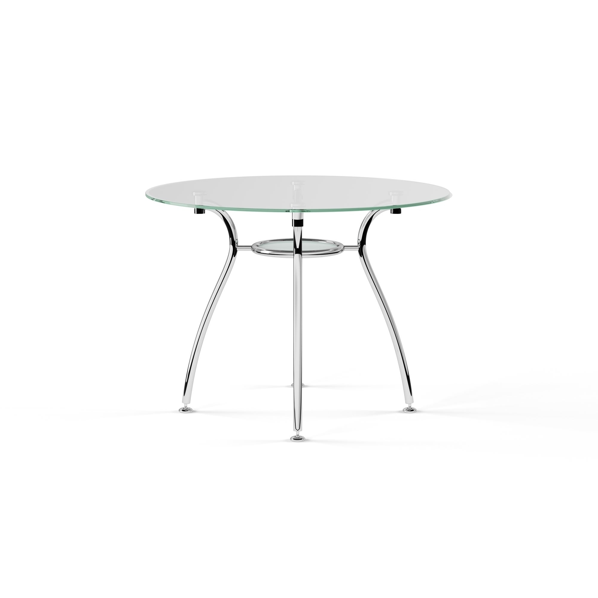 Chrome Dining Tables With Tempered Glass Throughout Well Known Porch & Den St. Paul Tempered Glass Chrome Round Dining Table (Gallery 13 of 30)