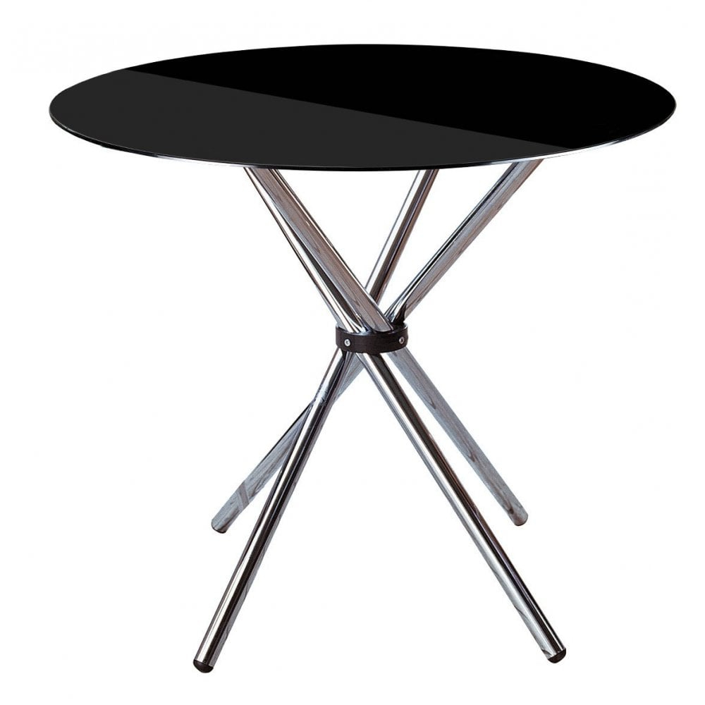 Clanbay Dining Table, Chrome, Tempered Glass, Black Intended For Newest Chrome Dining Tables With Tempered Glass (Gallery 6 of 30)