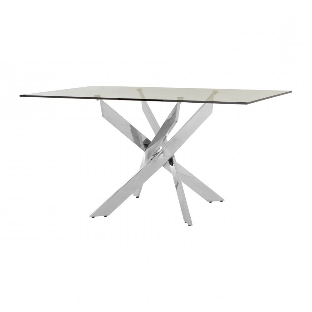 Clanbay Enrich Rectangular Chrome Dining Table, Tempered Glass, Silver In Famous Chrome Dining Tables With Tempered Glass (Gallery 16 of 30)