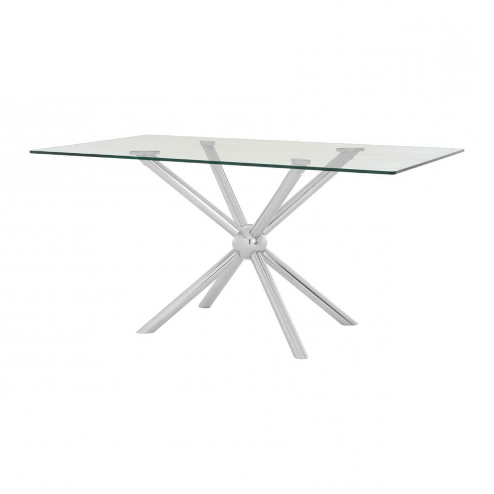 Clanbay Novo Rectangular / Silver Dining Table, Steel, Tempered Glass, Silver In Famous Steel And Glass Rectangle Dining Tables (Gallery 14 of 30)