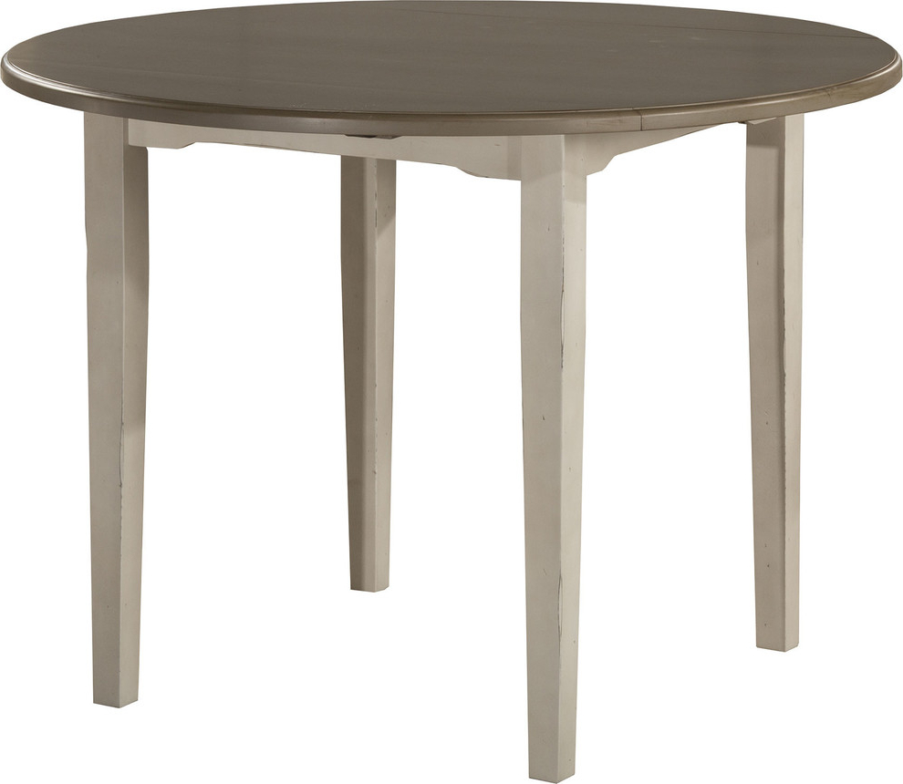 Clarion Round Drop Leaf Dining Table, Distressed Gray Top, Sea White Base For Popular Alamo Transitional 4 Seating Double Drop Leaf Round Casual Dining Tables (View 5 of 19)