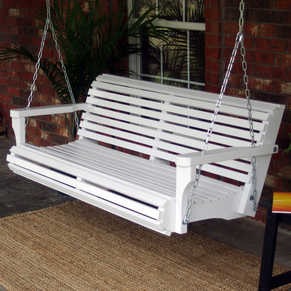 Classic Porch Swings Pertaining To Preferred Tmp Outdoor Furniture Contoured Classic White Porch Swing In (View 6 of 30)