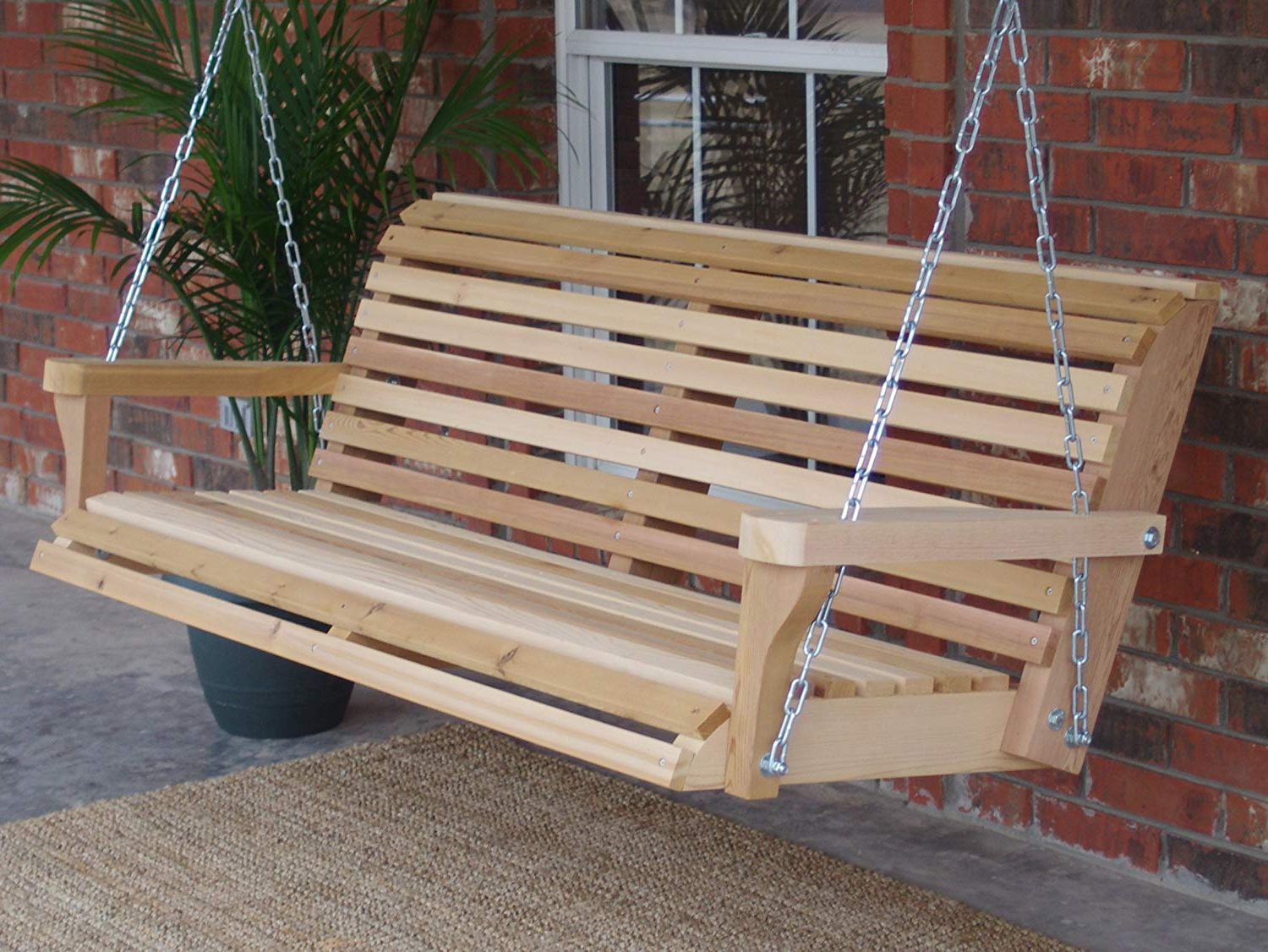 Classic Porch Swings Regarding Most Recent Amazon : Three Man Classic Cedar Porch Swing With (View 4 of 30)