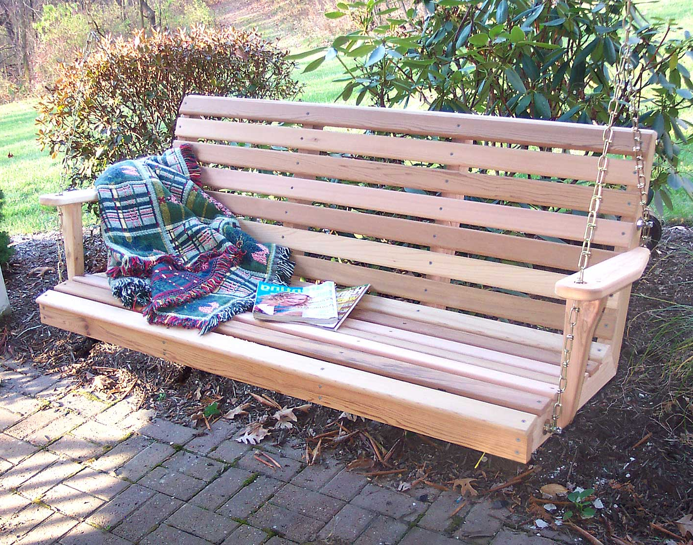 Classic Porch Swings Regarding Trendy Red Cedar American Classic Porch Swing (View 7 of 30)