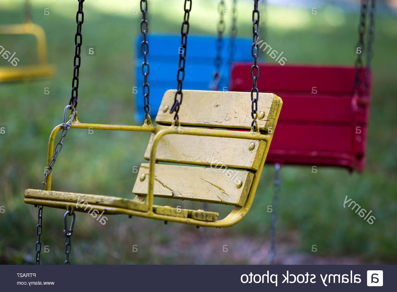 Close Up Empty Chain Swing Seats Stock Photos & Close Up With Favorite Swing Seats With Chains (View 4 of 30)