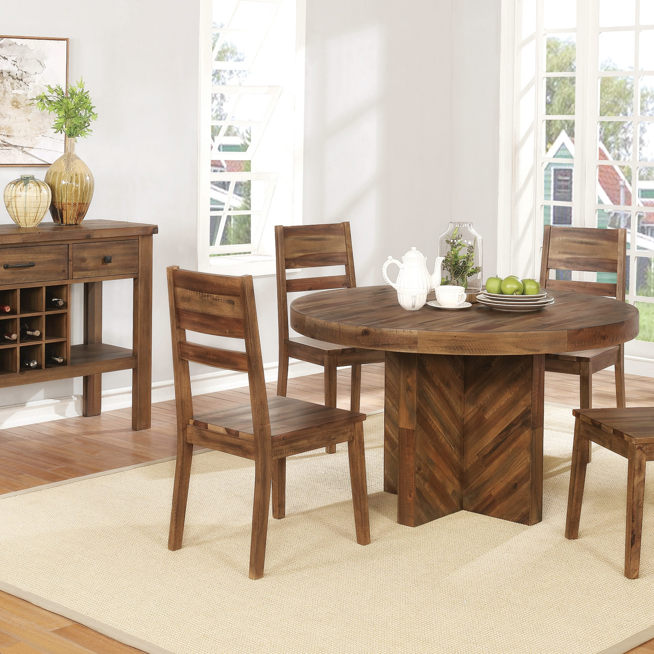 Coaster Contemporary 6 Seating Rectangular Casual Dining Tables In Most Recently Released Tucson Round Dining Table Varied Natural – Coaster Fine (View 6 of 30)