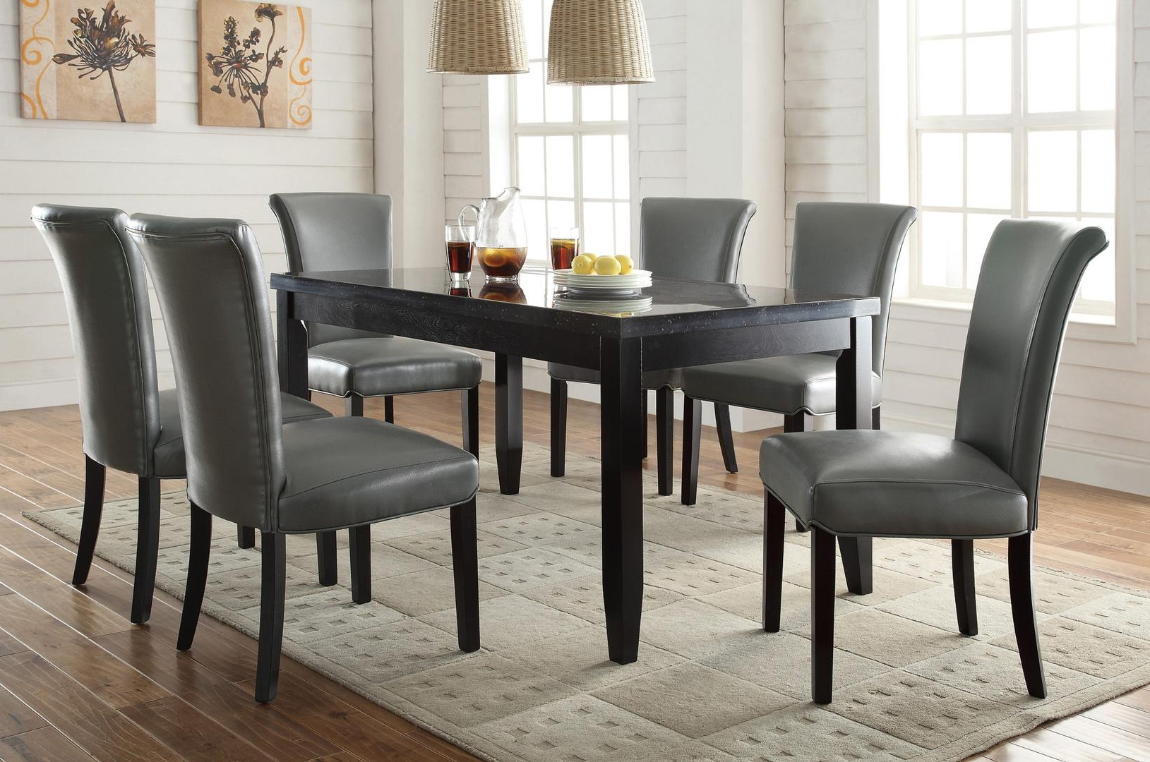 Coaster Newbridge Collection 103621 6Sc82 7 Piece Dining Pertaining To Fashionable Coaster Contemporary 6 Seating Rectangular Casual Dining Tables (View 16 of 30)