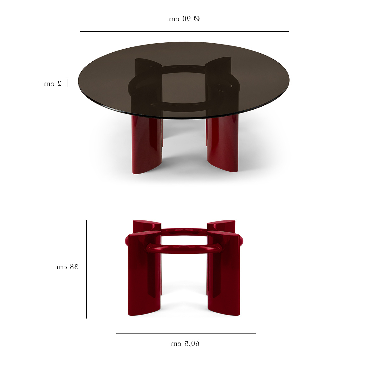 Coffee Table With Red Lacquered Legs And Smoked Glass Top With Well Known Smoked Oval Glasstop Dining Tables (View 12 of 30)