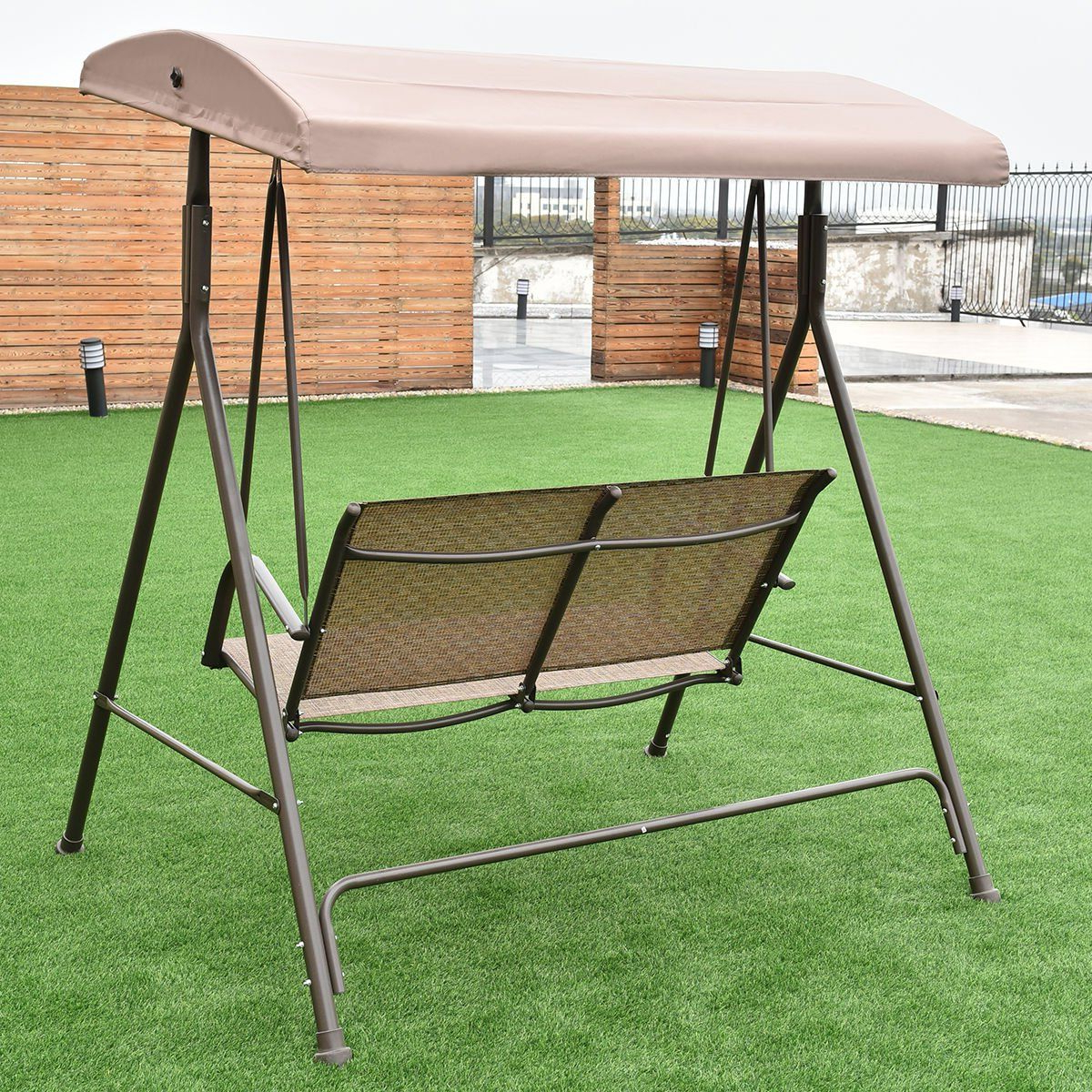Colibroxoutdoor 2 Person Patio Backyard Porch Swing Hammock With Current 2 Person Adjustable Tilt Canopy Patio Loveseat Porch Swings (View 17 of 30)