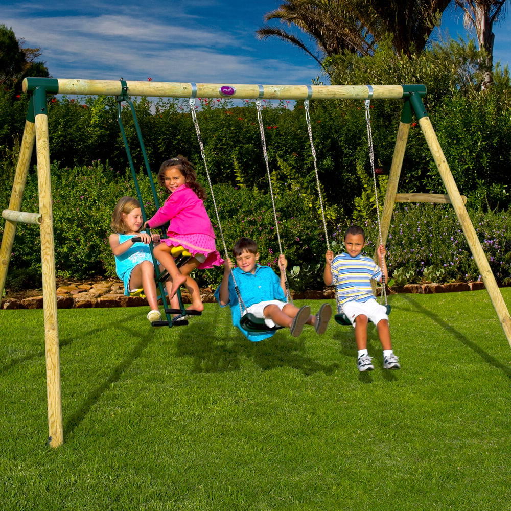 Colobus Wooden Pole Swing Set With Free Protektamats – Pack Of 2 With 2020 Dual Rider Glider Swings With Soft Touch Rope (Gallery 12 of 30)