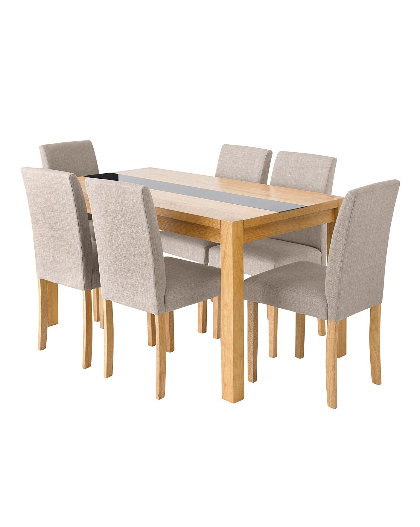 Contemporary 6 Seating Rectangular Dining Tables In Recent Oakham Panel Table 6 Mia Fabric Chairs (View 15 of 30)