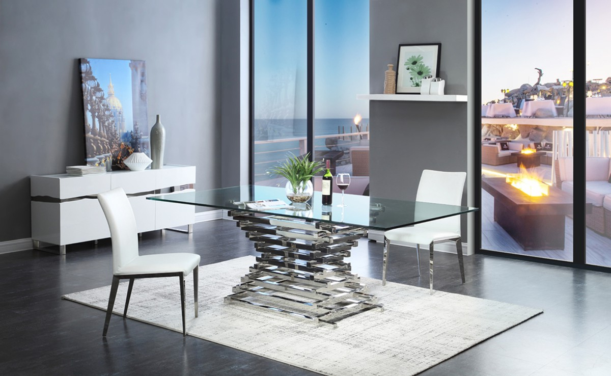 Contemporary 6 Seating Rectangular Dining Tables Throughout Most Popular Modrest Crawford Modern Rectangular Glass Dining Table – Vig (View 18 of 30)