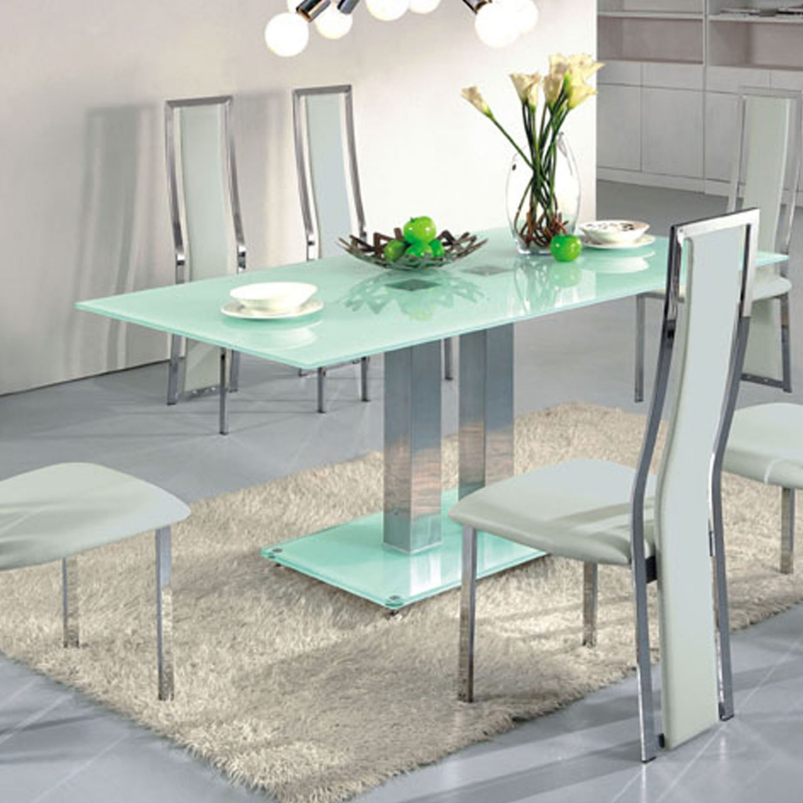 Contemporary Dining Table With Glass Top And Bas With With Regard To 2017 Steel And Glass Rectangle Dining Tables (View 11 of 30)