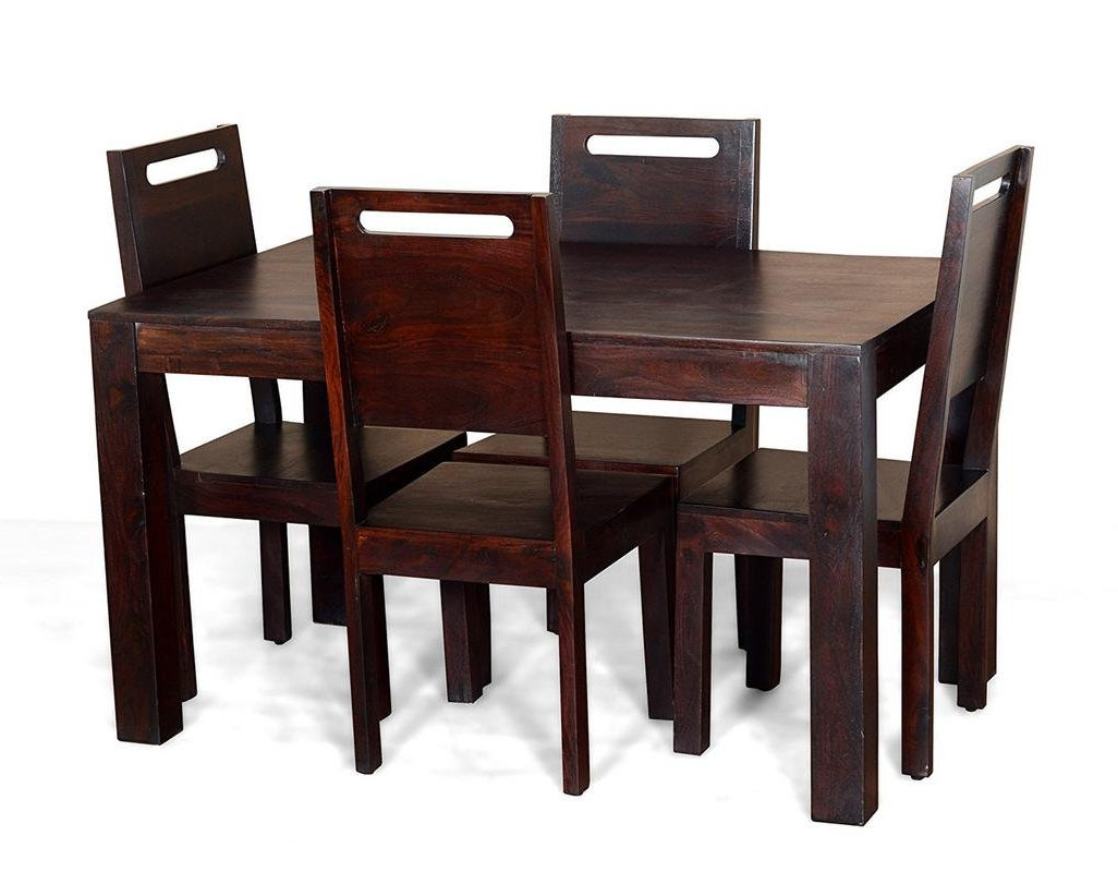 Contemporary Style 4 Seater Square Dining Table Set (Teak Intended For Preferred Contemporary 4 Seating Square Dining Tables (View 14 of 30)