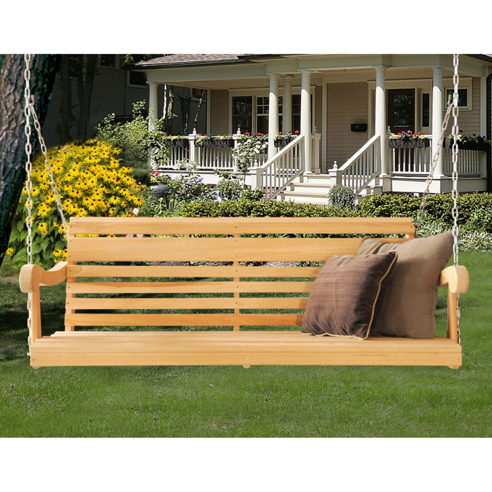 Contoured Classic Porch Swings Regarding Best And Newest Hershy Way Cypress 5 Ft. Classic Grandpa Porch Swing In 2019 (Gallery 26 of 30)