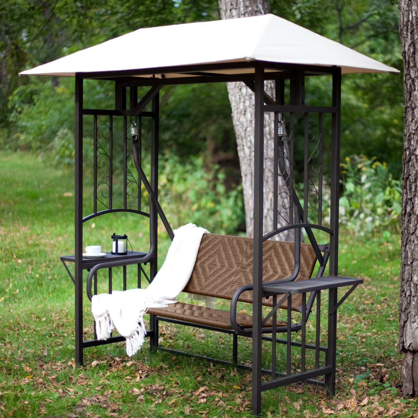 Coral Coast Bellora 2 Person Gazebo Swing – Natural Resin For Well Known Patio Gazebo Porch Swings (Gallery 1 of 30)