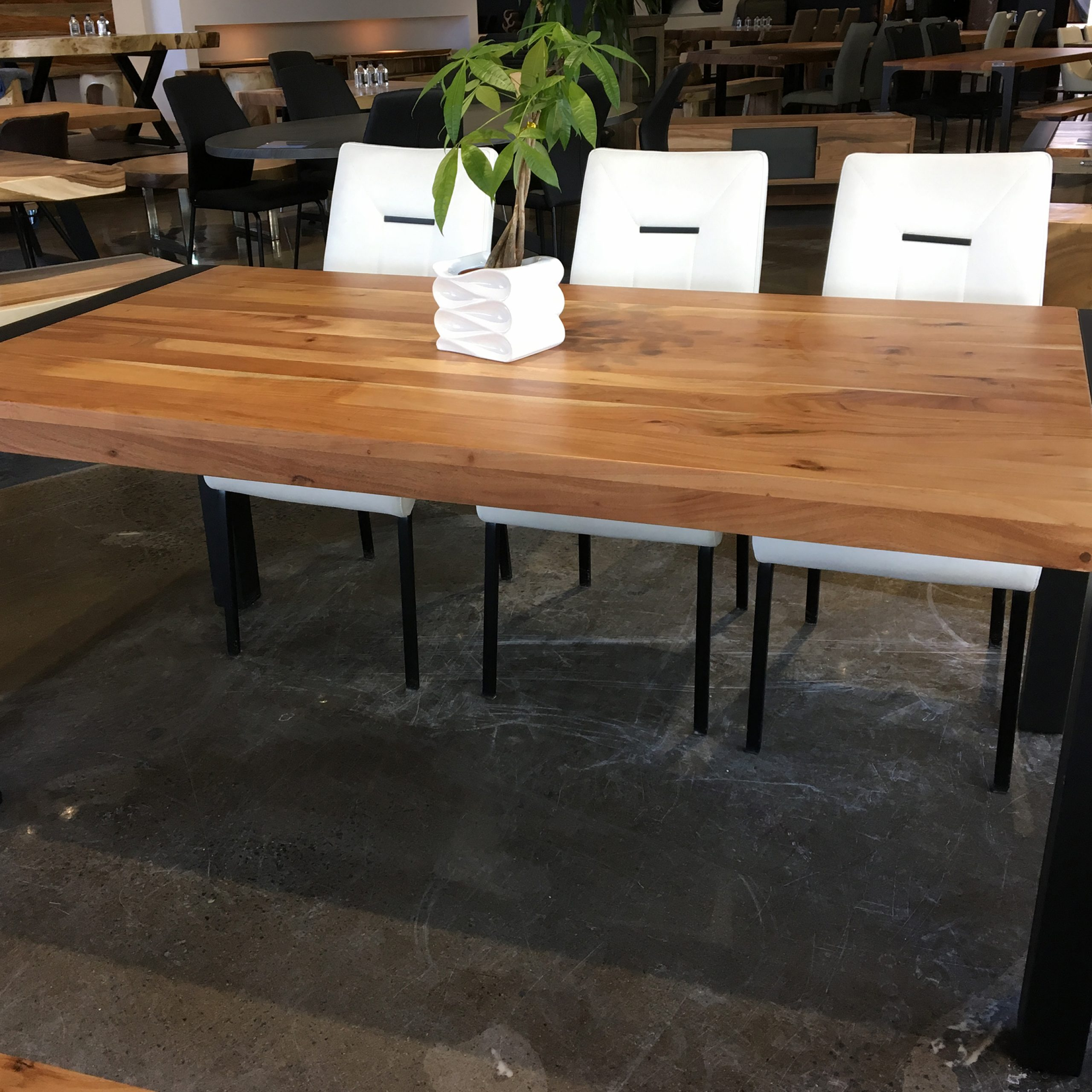 "Corcoran Acacia Dining Table With Black Legs – 70"" With Current Acacia Dining Tables With Black Victor Legs (View 5 of 30)"