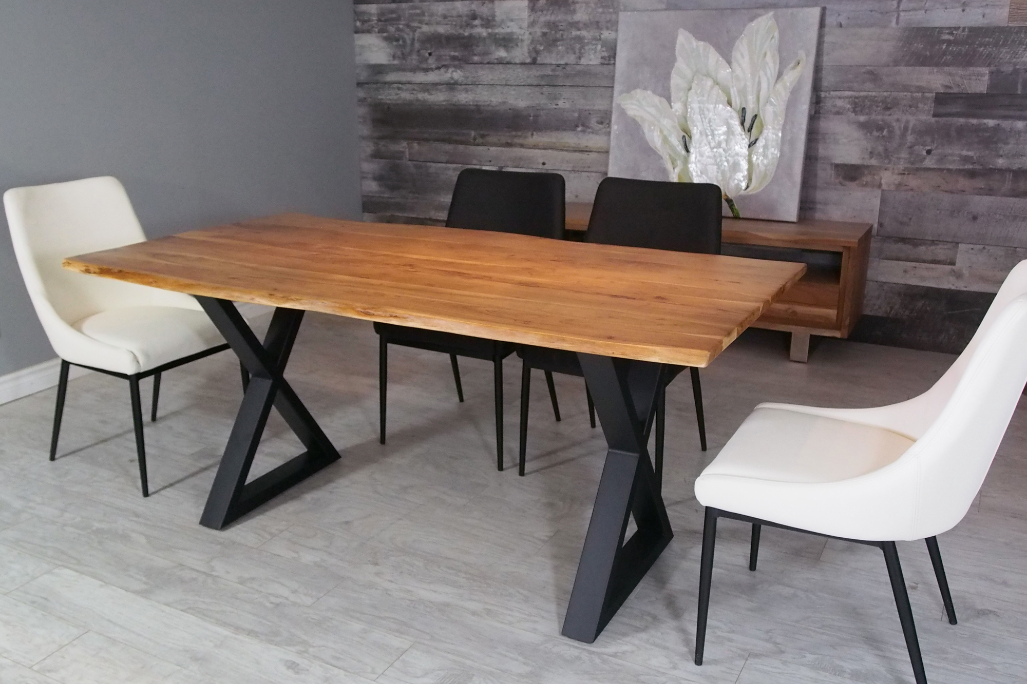 """Corcoran Acacia Live Edge Dining Table With Black X Legs – 67"""" Inside Favorite Acacia Dining Tables With Black X Leg (Gallery 21 of 30)"""
