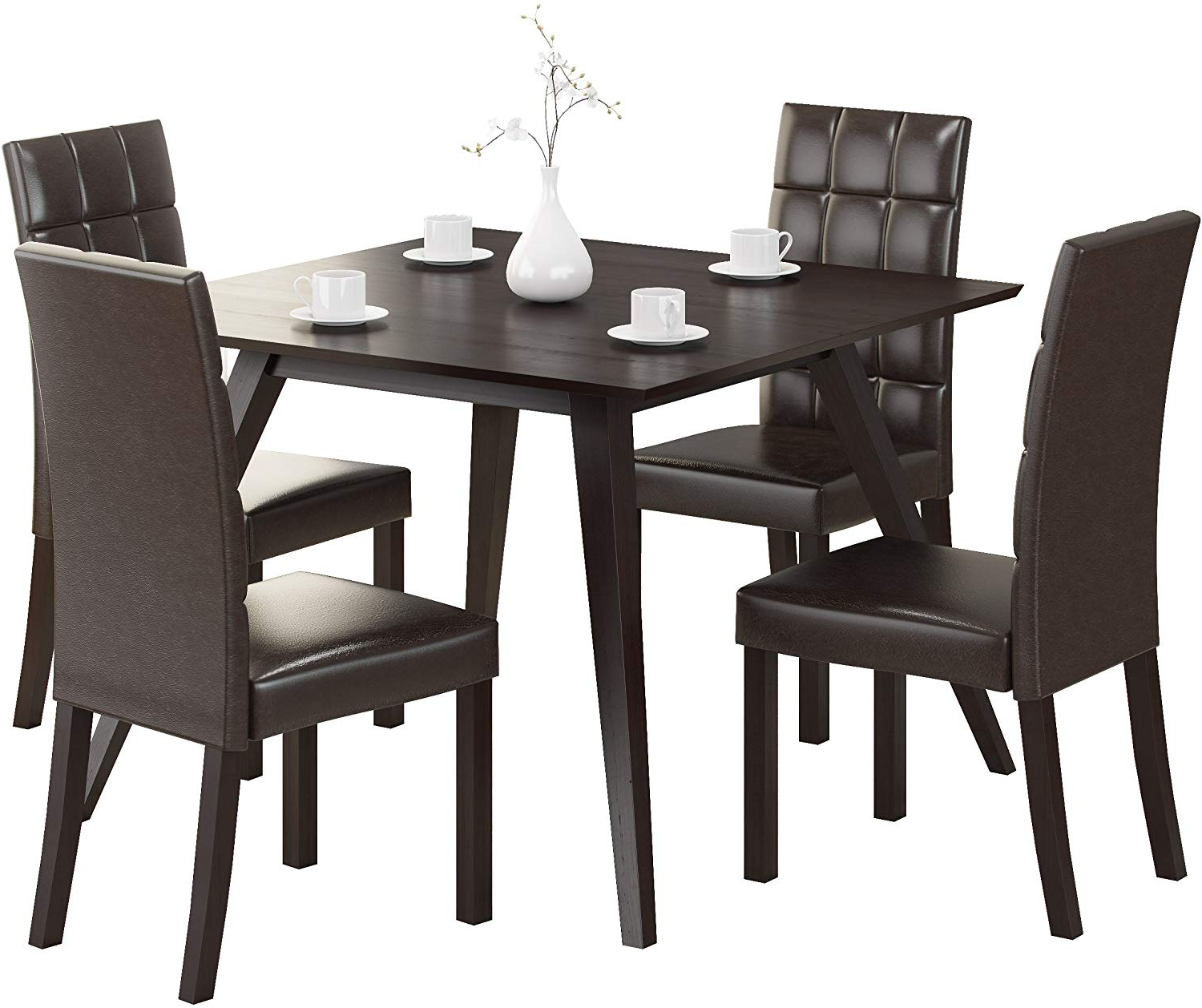 Corliving Atwood Dining Set, Dark Brown In Well Liked Atwood Transitional Square Dining Tables (View 15 of 30)