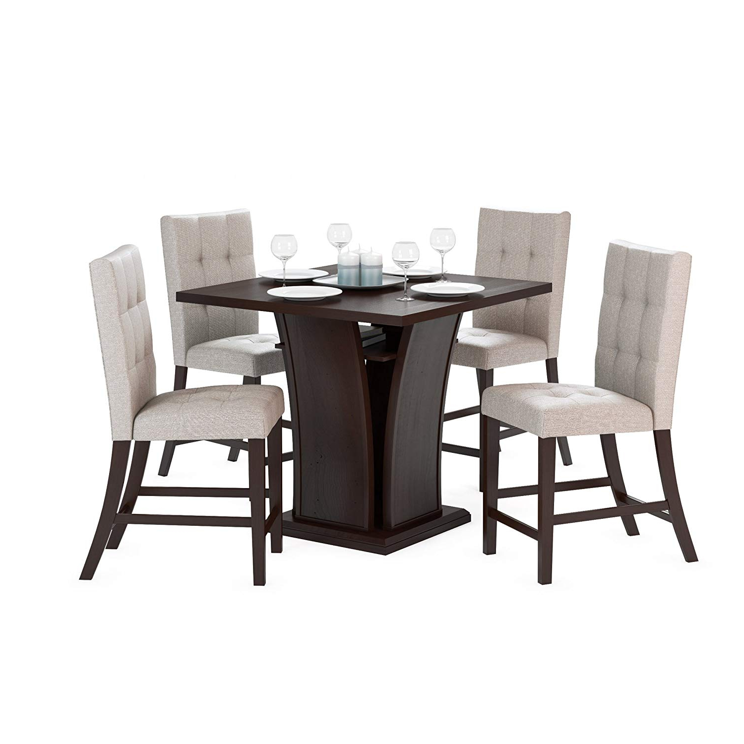 "Corliving Dwp 390 Z1 Bistro 5 Piece 36"" Counter Height Cappuccino Wood  Dining Set With Storage Shelf  Tufted Platinum Sage Seats Regarding Recent Bistro Transitional 4 Seating Square Dining Tables (Gallery 6 of 30)"