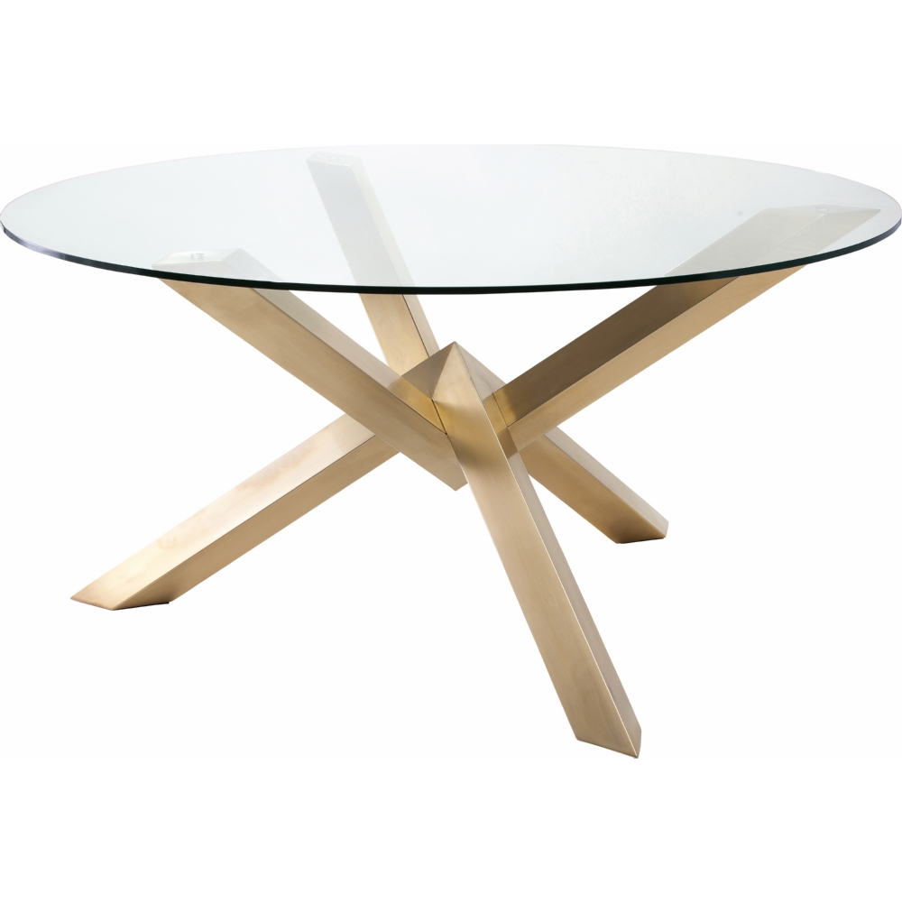 "Costa 72"" Round Dining Table W/ Geometric Brushed Gold Inside Fashionable Modern Gold Dining Tables With Clear Glass (Gallery 11 of 30)"
