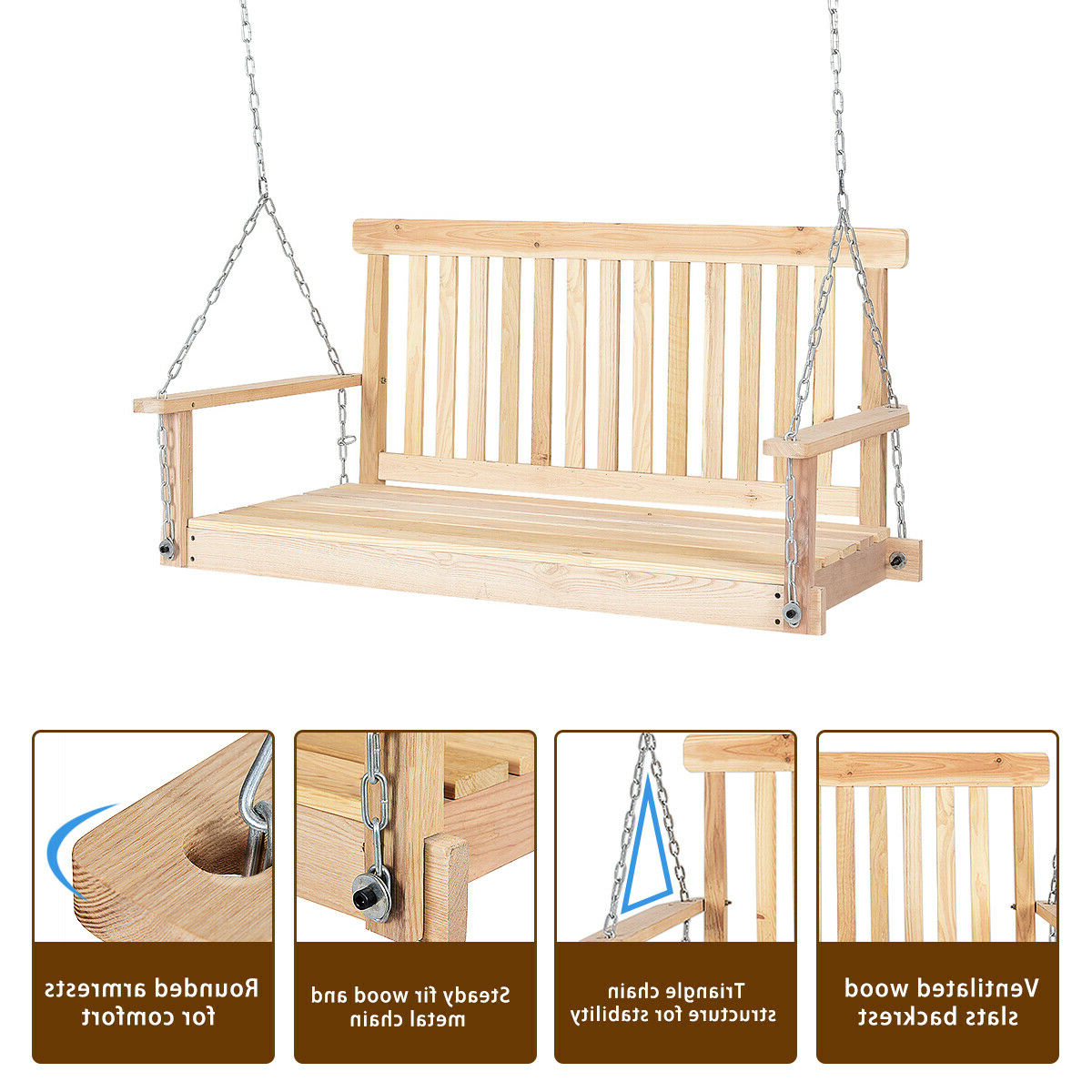 Costway 4 Ft Porch Swing Natural Wood Garden Swing Bench Throughout Most Current 3 Person Natural Cedar Wood Outdoor Swings (View 26 of 30)