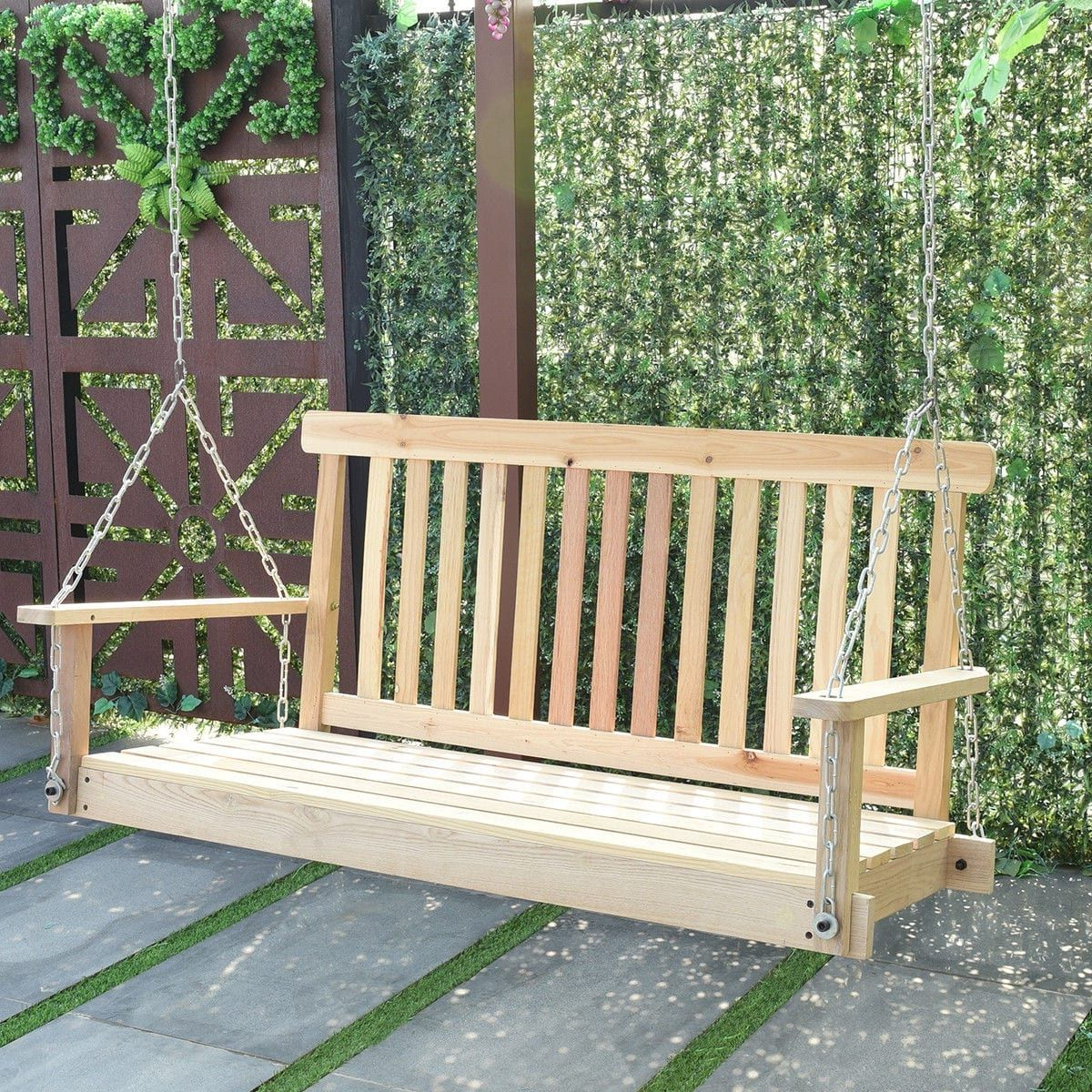 Costway 4 Ft Porch Swing Natural Wood Garden Swing Bench Within Current Fordyce Porch Swings (Gallery 21 of 30)