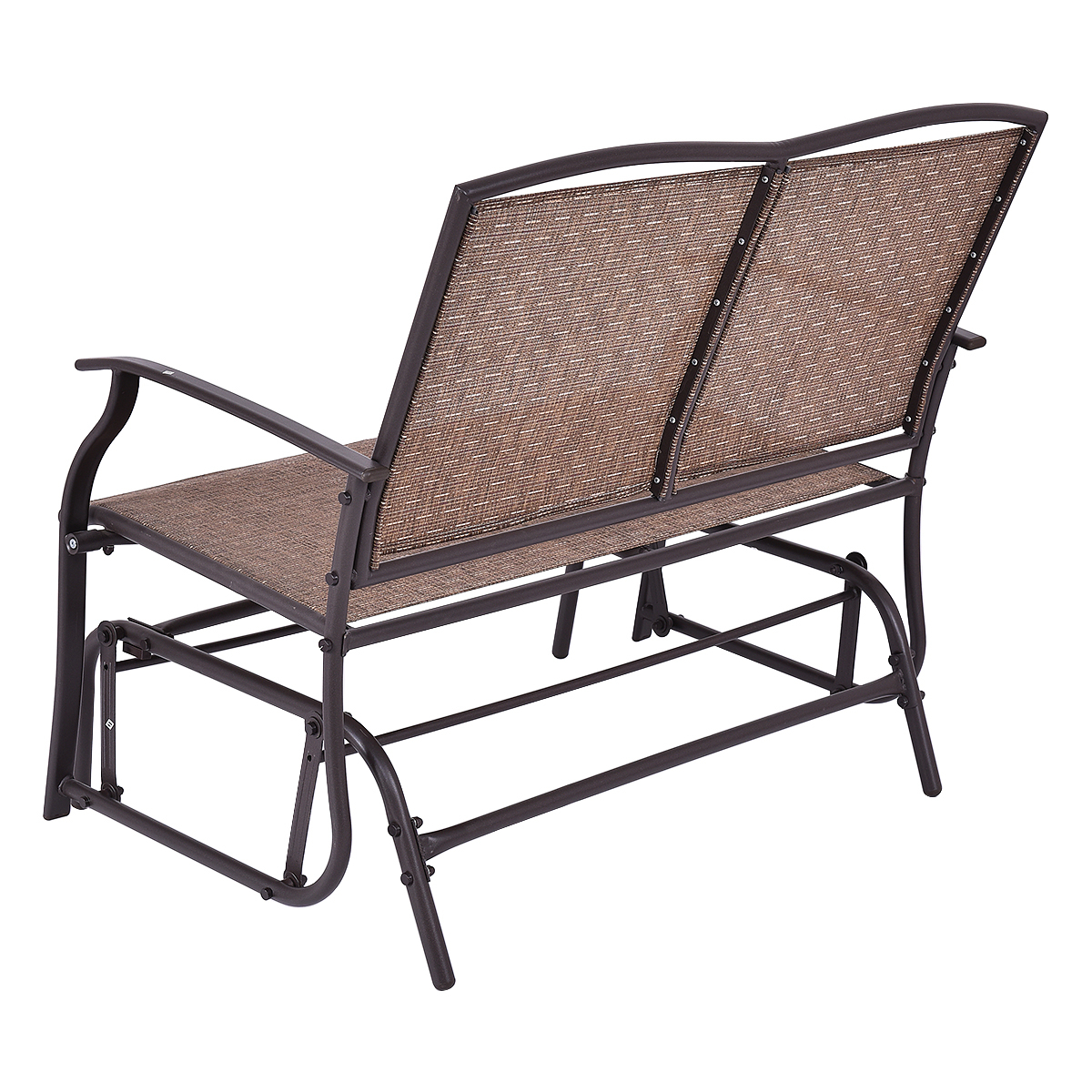 Costway Patio Glider Rocking Bench Double 2 Person Chair Within Famous Iron Double Patio Glider Benches (Gallery 21 of 30)