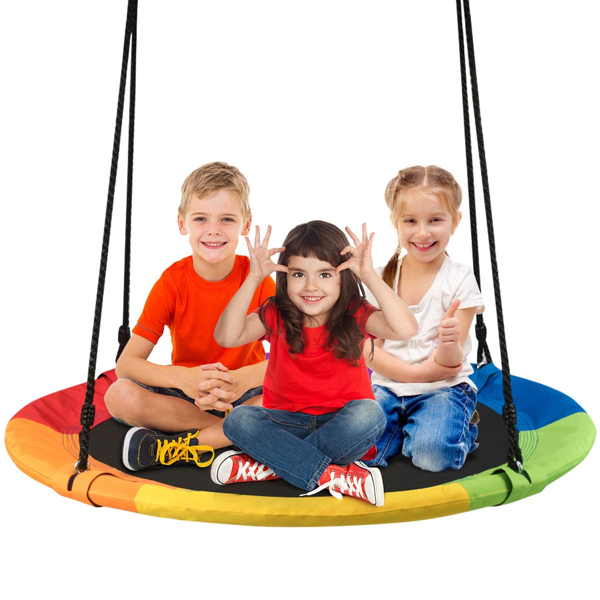 """Costzon 40"""" Waterproof Saucer Tree Swing Set, Outdoor Round Swing Colorful  – Adjustable Hanging Ropes, Safe And Sturdy Swing For Children Park Regarding Popular Dual Rider Glider Swings With Soft Touch Rope (Gallery 7 of 30)"""