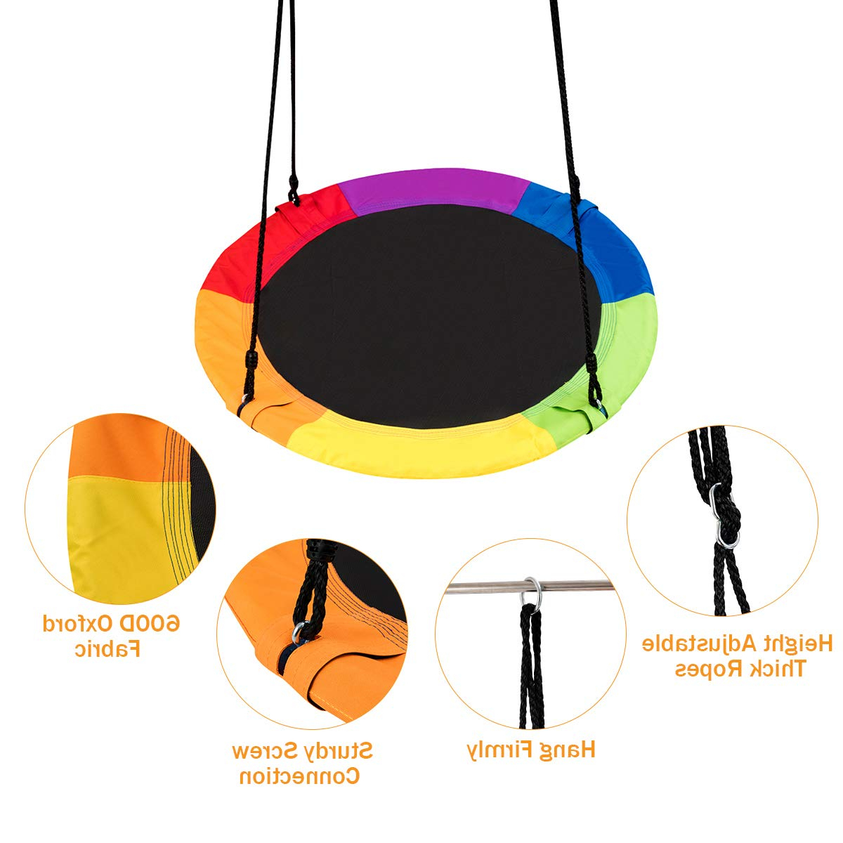 """Costzon 40"""" Waterproof Saucer Tree Swing Set, Outdoor Round Swing Colorful  – Adjustable Hanging Ropes, Safe And Sturdy Swing For Children Park With Favorite Dual Rider Glider Swings With Soft Touch Rope (Gallery 13 of 30)"""