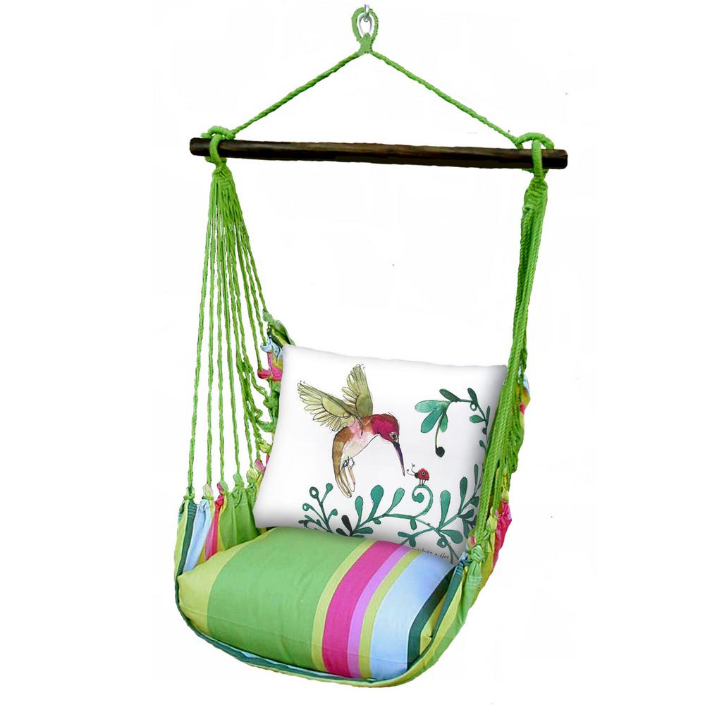 Cotton Porch Swings In Fashionable 3 Piece Wood Polyester Cushioned Porch Swing With Hummingbird Print Back  Pillow (Gallery 10 of 30)