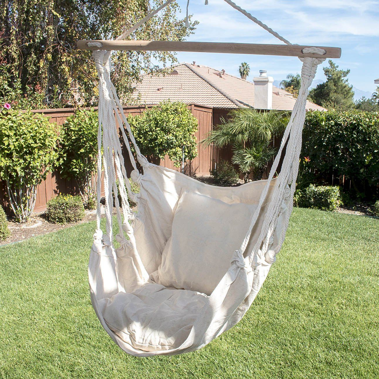 Cotton Porch Swings Within Recent Arksen© Outdoor Hanging Cotton Pillow Hammock Chair Swing (Gallery 15 of 30)