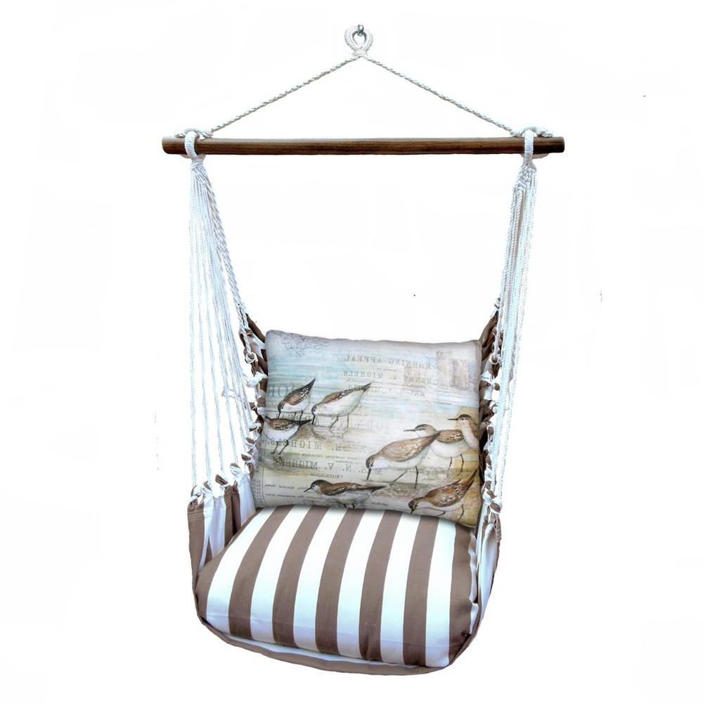 Cotton Porch Swings Within Well Known 3 Piece Wood Polyester Cushioned Porch Swing With Sea Birds Print Back  Pillow (Gallery 20 of 30)