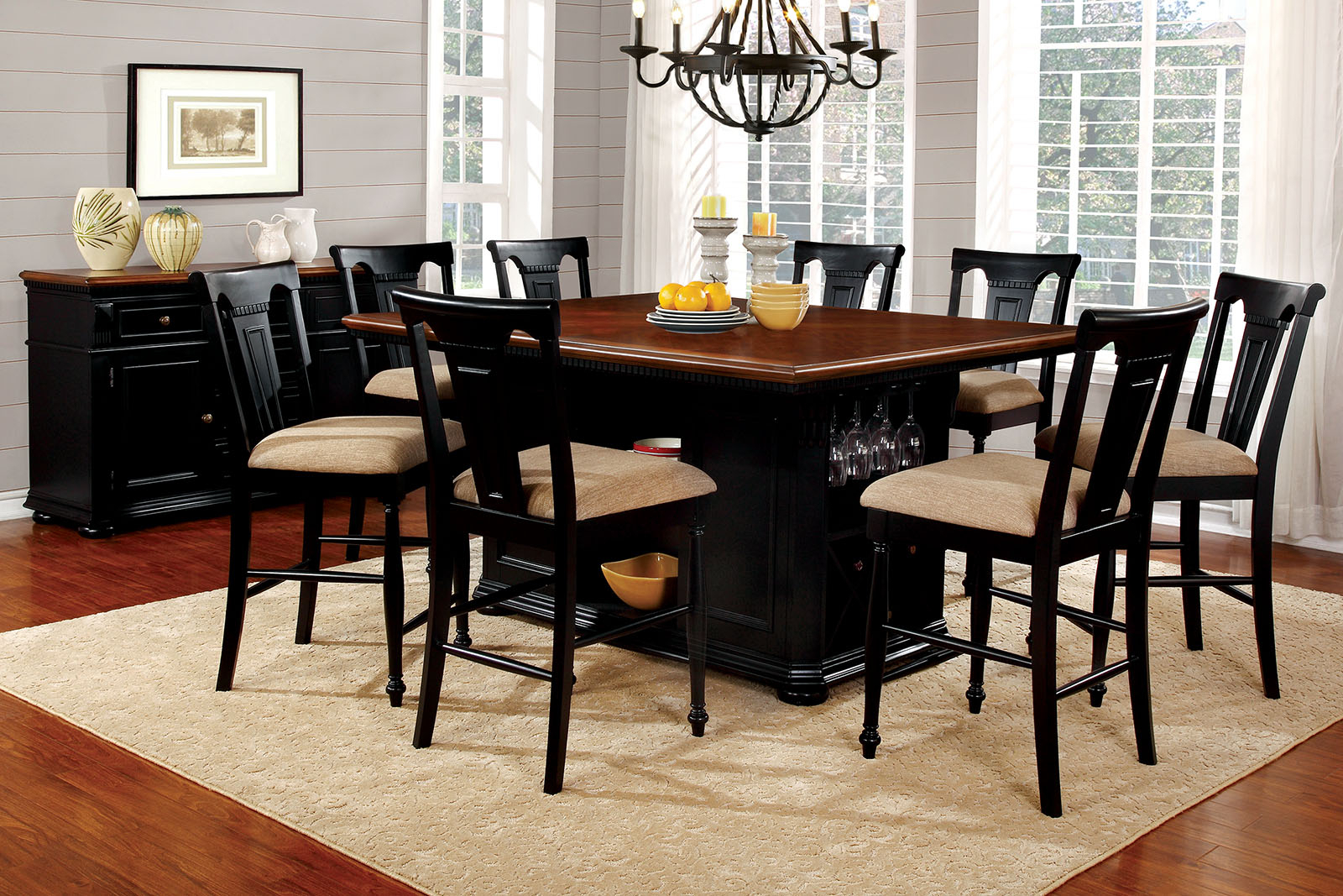 Counter Height Dining Table And Chairs Aspiration 9Pcs Throughout Most Up To Date Transitional 6 Seating Casual Dining Tables (Gallery 24 of 30)