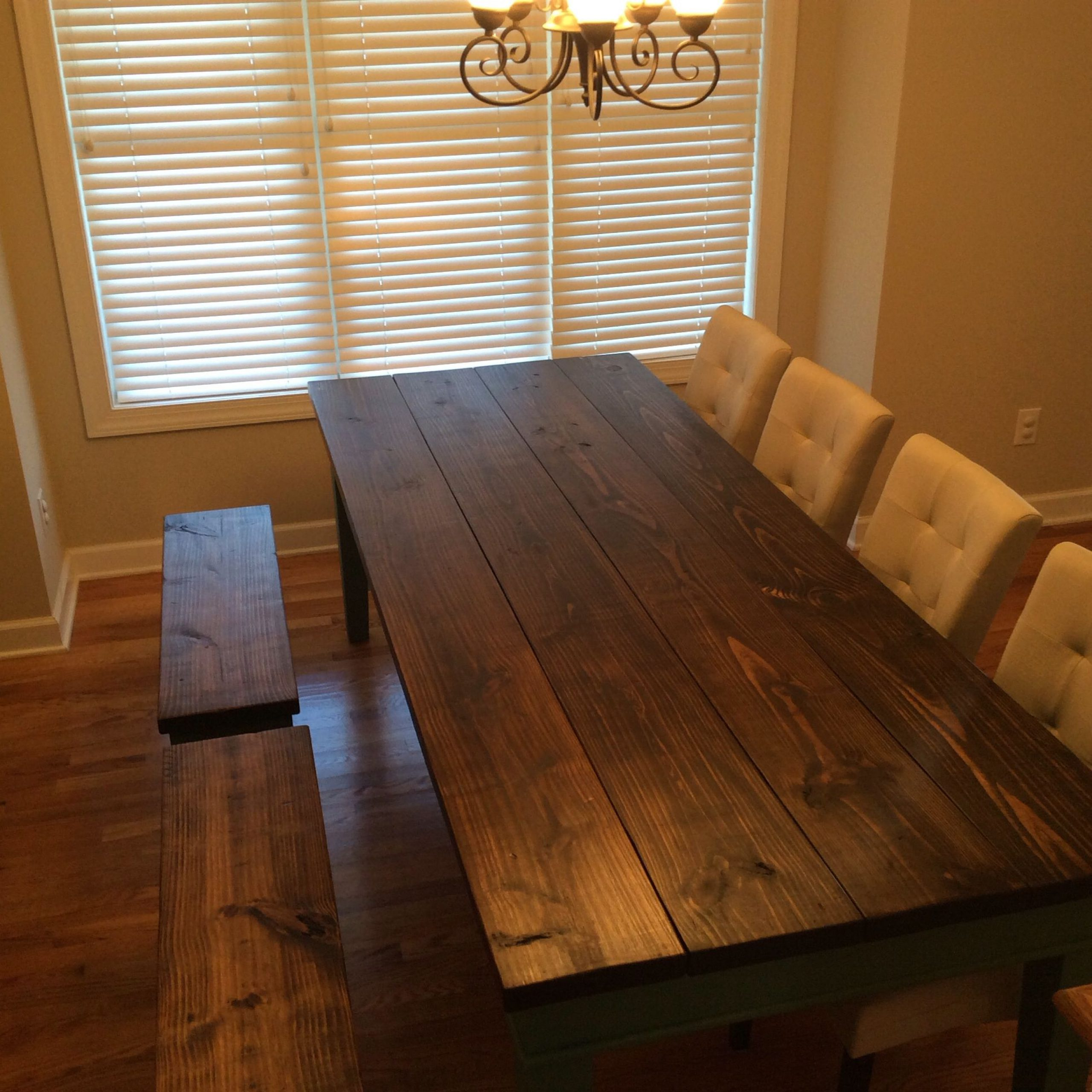 Country Dining Tables With Weathered Pine Finish For Current Finished Farm Table (View 11 of 30)