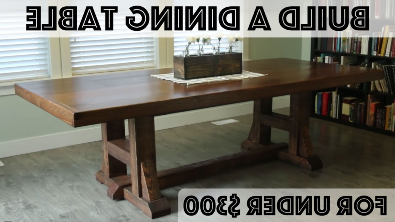 Country Dining Tables With Weathered Pine Finish For Most Current Diy Dining Table: Pottery Barn Inspired Farmhouse Table (View 19 of 30)