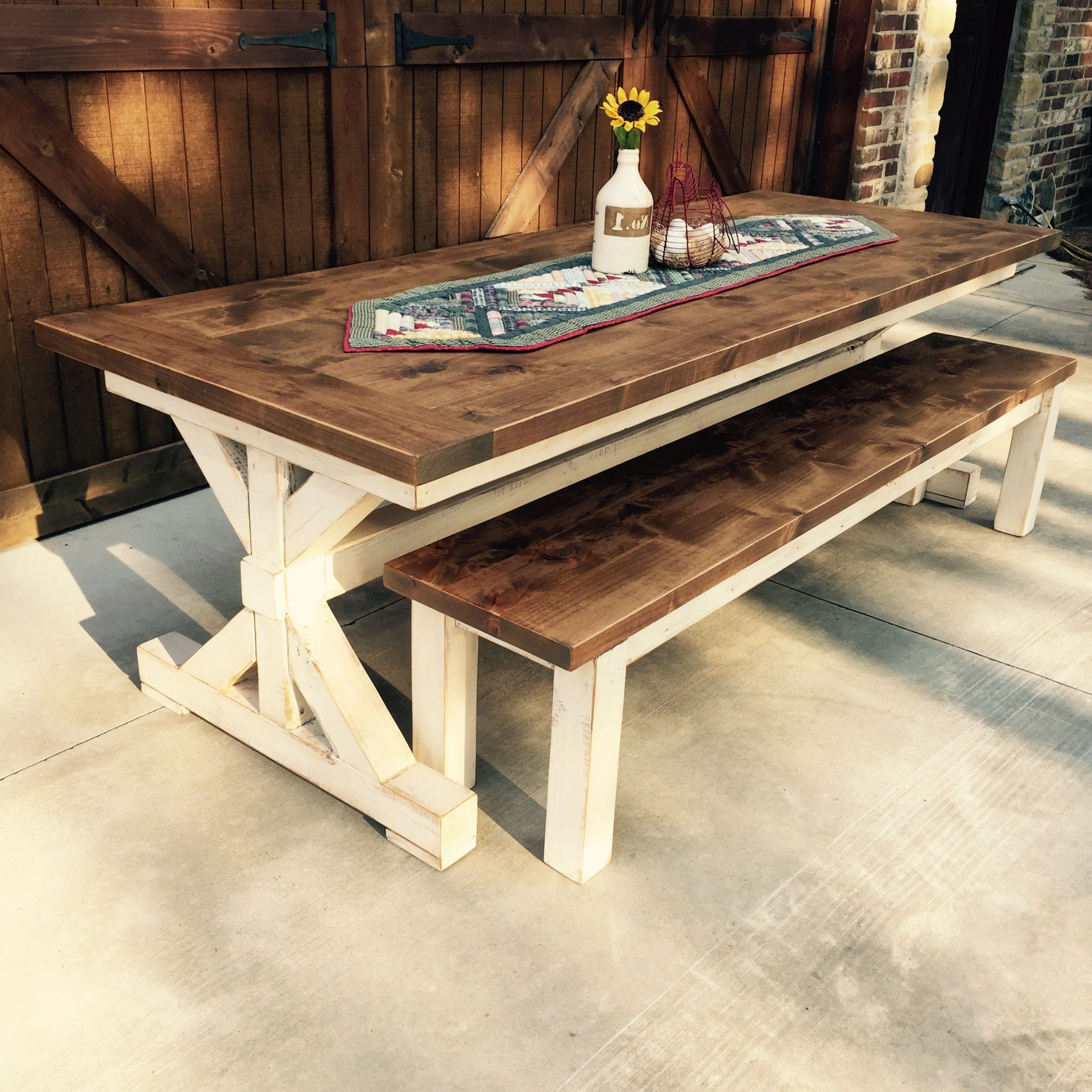 Country Dining Tables With Weathered Pine Finish Regarding Favorite Knotty Alder Farm Table And Bench Handcraftedl (View 3 of 30)