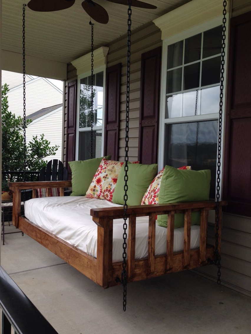 Country Style Hanging Daybed Swings Pertaining To Newest Round Outdoor Porch Cover Swing Crib Plans Diy Hanging (View 22 of 30)