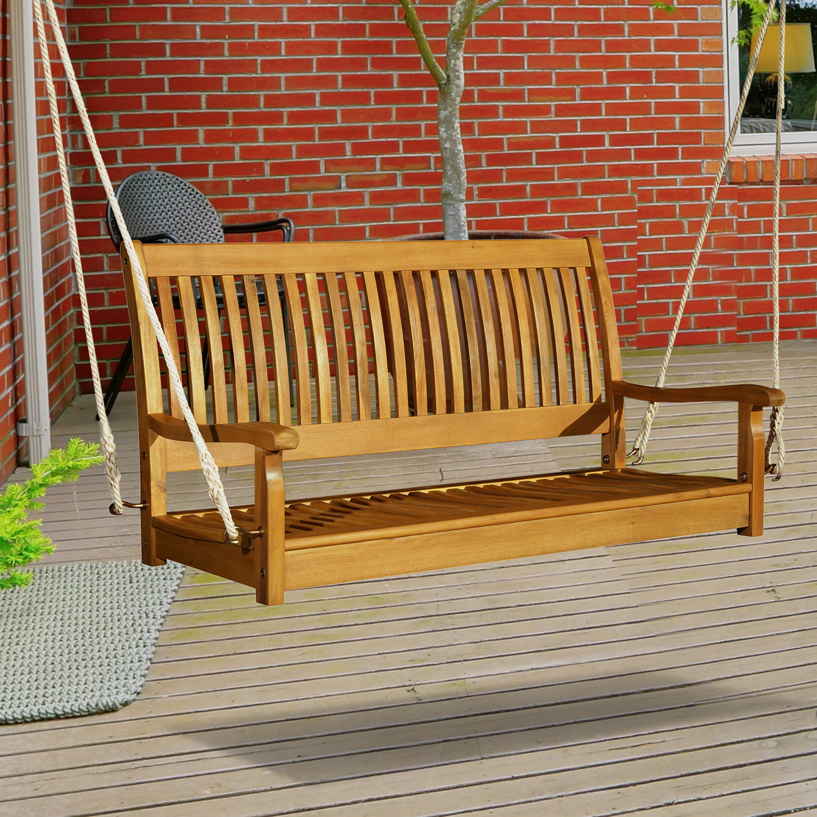 Craney 2 Person Hanging Porch Swing For Latest 2 Person Light Teak Oil Wood Outdoor Swings (Gallery 9 of 30)