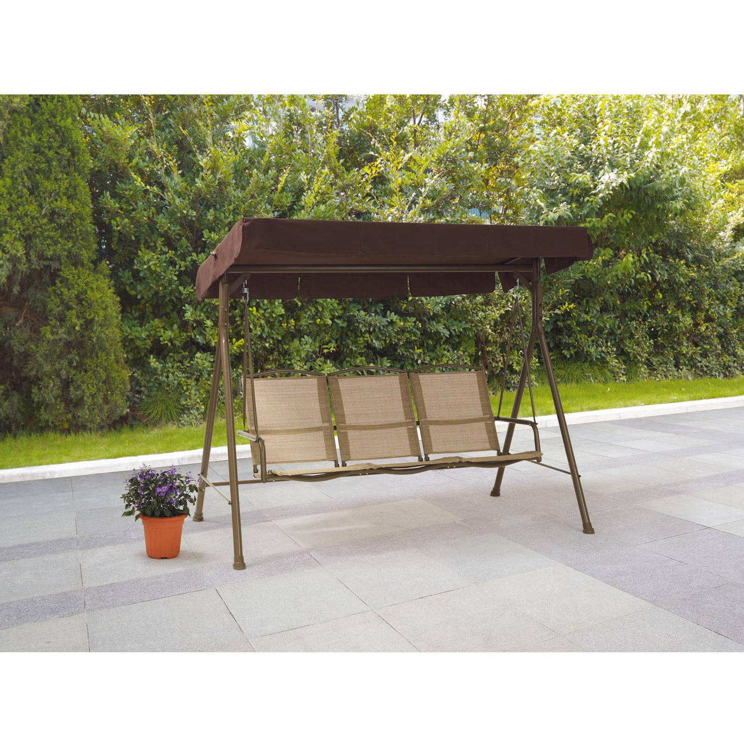 Current Amazon : Mainstays Sand Dune 3 Seat Sling Porch & Patio With Regard To Patio Gazebo Porch Swings (Gallery 20 of 30)