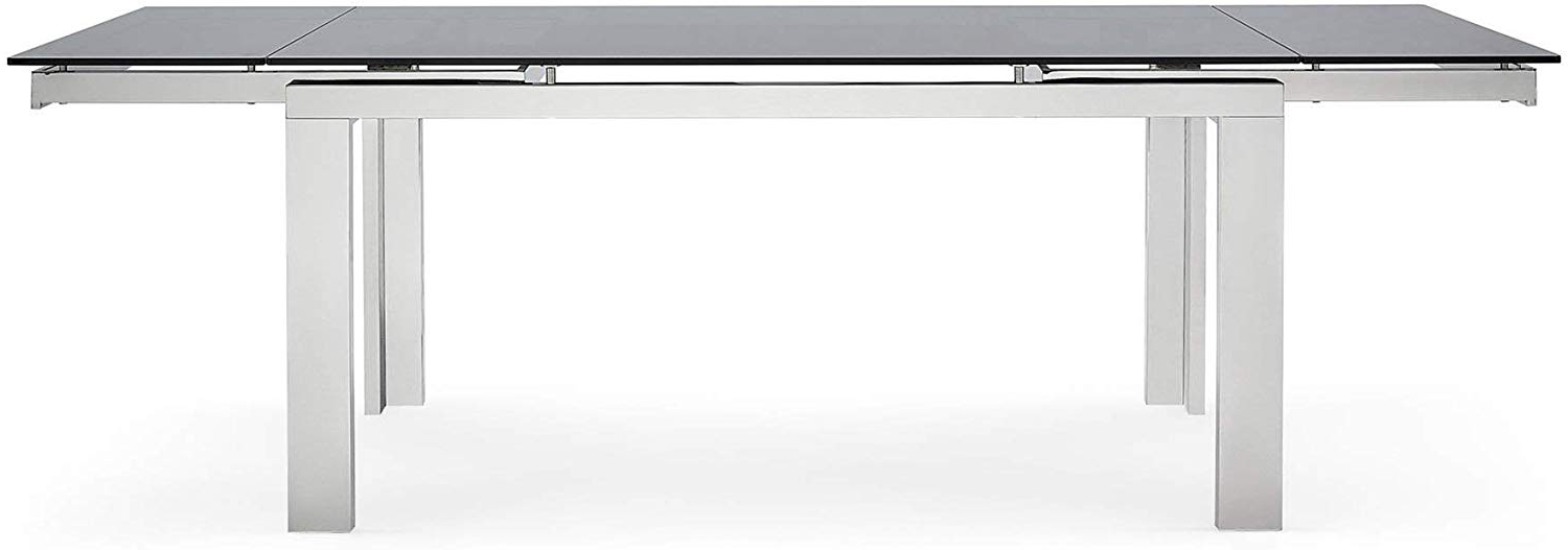 Current Amazon – Modern Enzo 94 Inch Expandable Dining Table Intended For Modern Glass Top Extension Dining Tables In Stainless (Gallery 8 of 30)