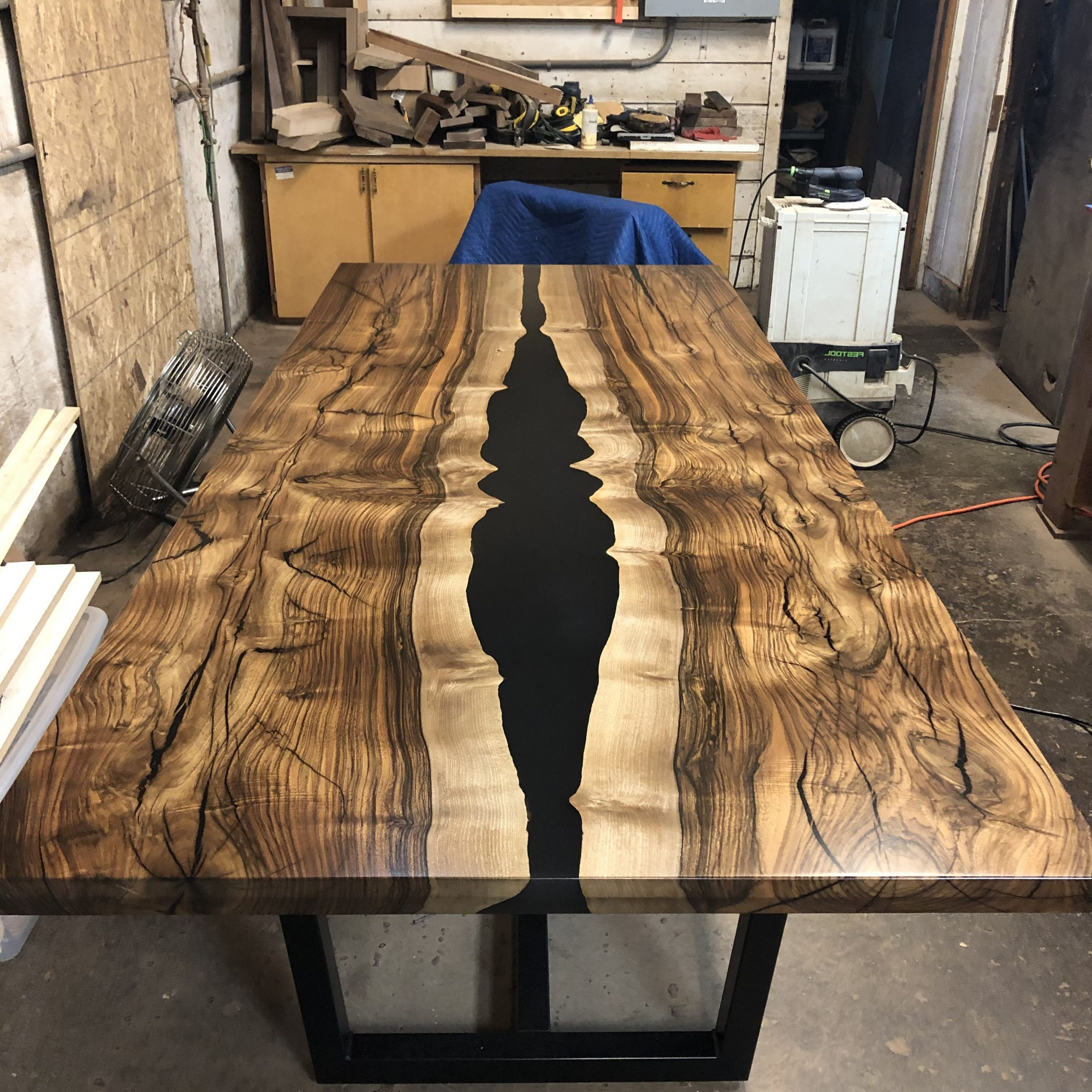 Current Black Top Large Dining Tables With Metal Base Copper Finish With Regard To Nearly Finished Shot Of My English Walnut And Black Resin (View 30 of 30)