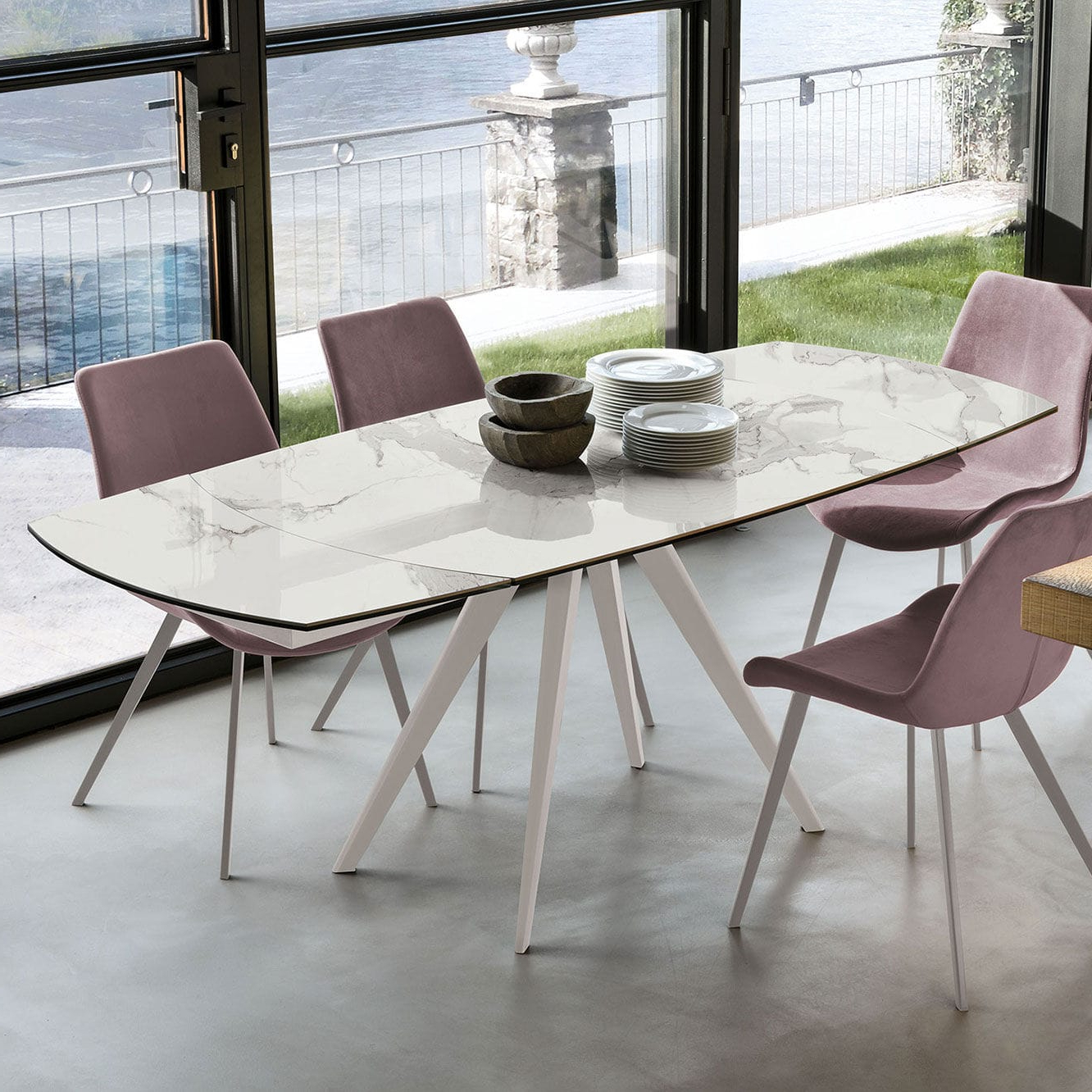 Current Contemporary Dining Table / Tempered Glass / Porcelain Inside Dining Tables With Brushed Stainless Steel Frame (Gallery 5 of 30)