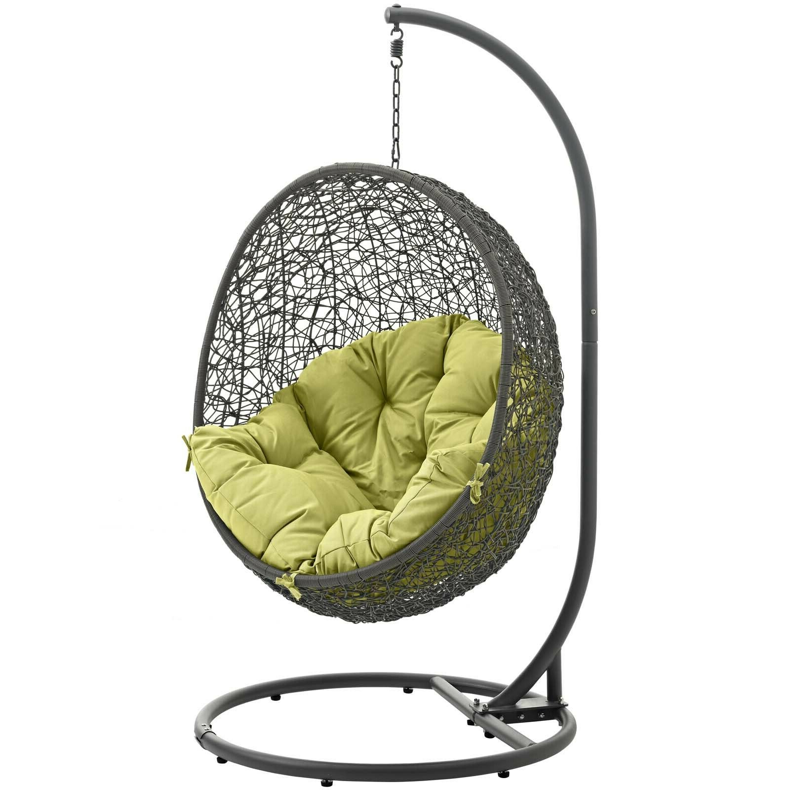 Current Details About Wicker Rattan Outdoor Patio Hanging Swing Porch Chair W/  Stand In Gray Peridot Inside Wicker Glider Outdoor Porch Swings With Stand (Gallery 27 of 30)