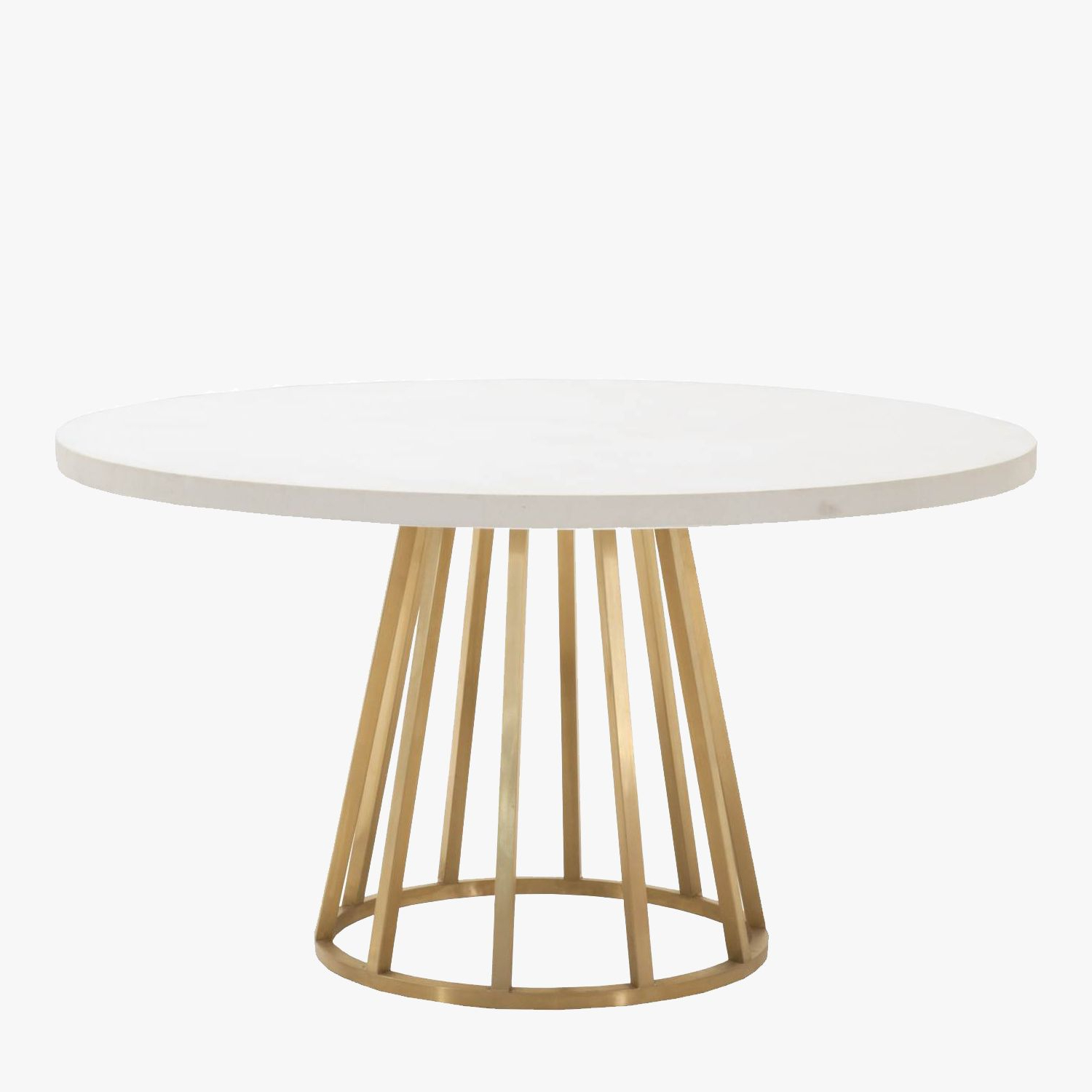 Current Dining Tables With Brushed Gold Stainless Finish Within Atlas White Concrete Top Dining Table – Shop Dining Tables (View 13 of 30)
