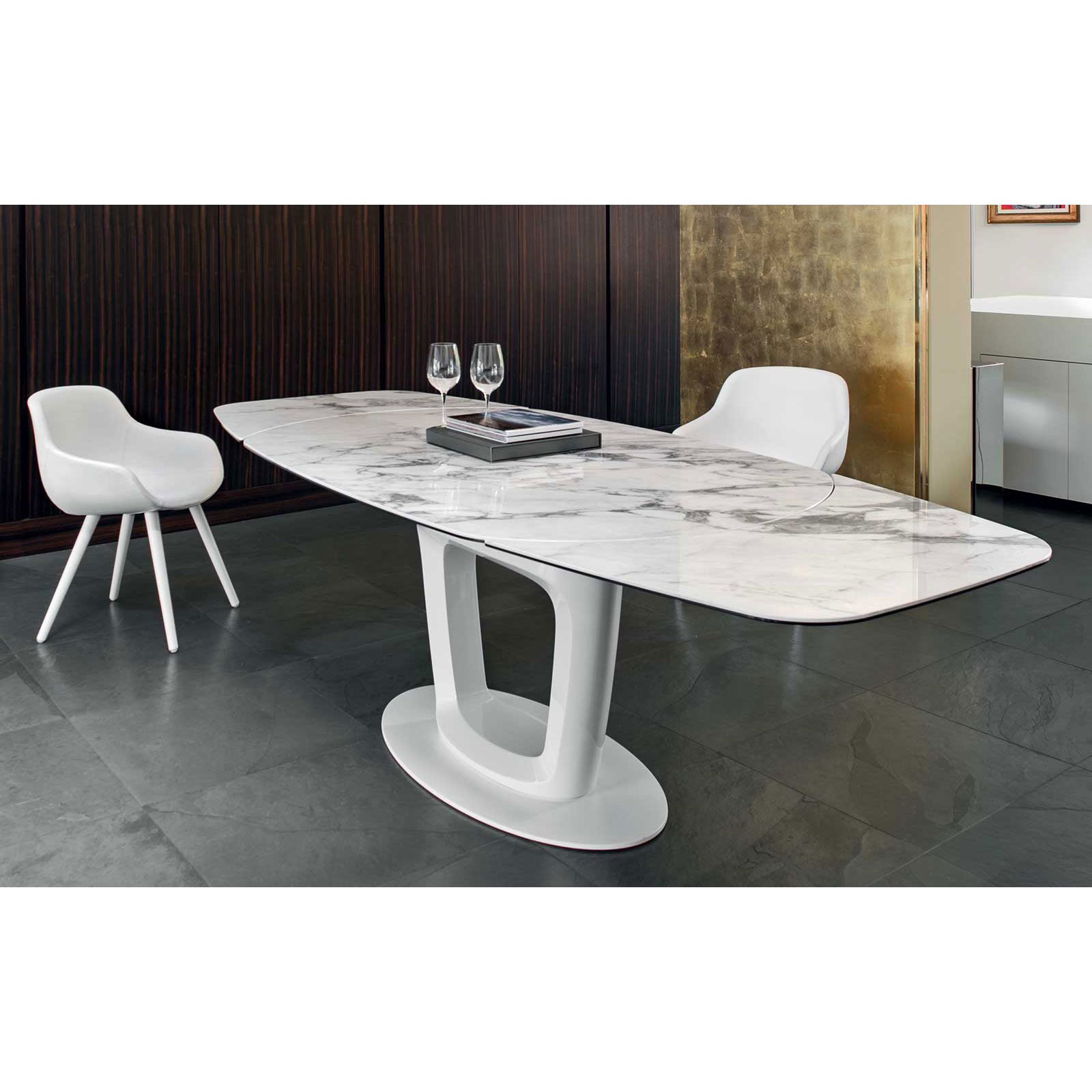 Current Dining Tables With White Marble Top Throughout Orbital Cs4064 Ceramic White Marble Top Extendable Dining (View 9 of 30)