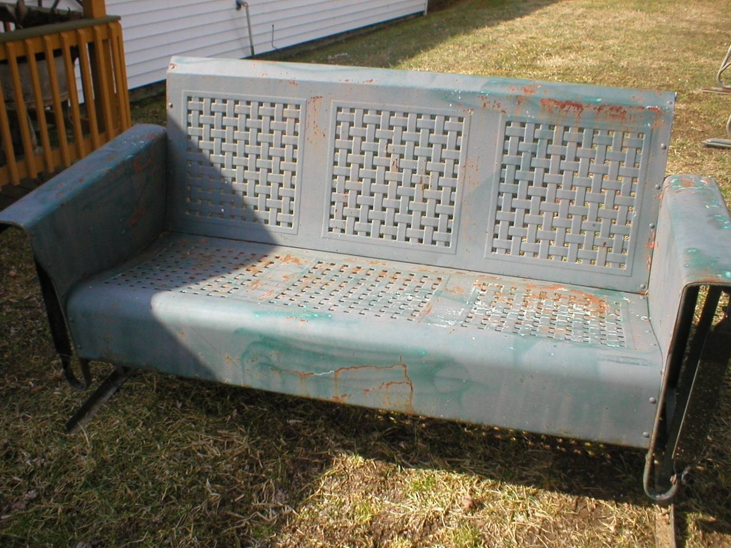 Current History Of Old Metal Porch Glider — Randolph Indoor And Throughout 1 Person Antique Black Steel Outdoor Gliders (View 20 of 30)