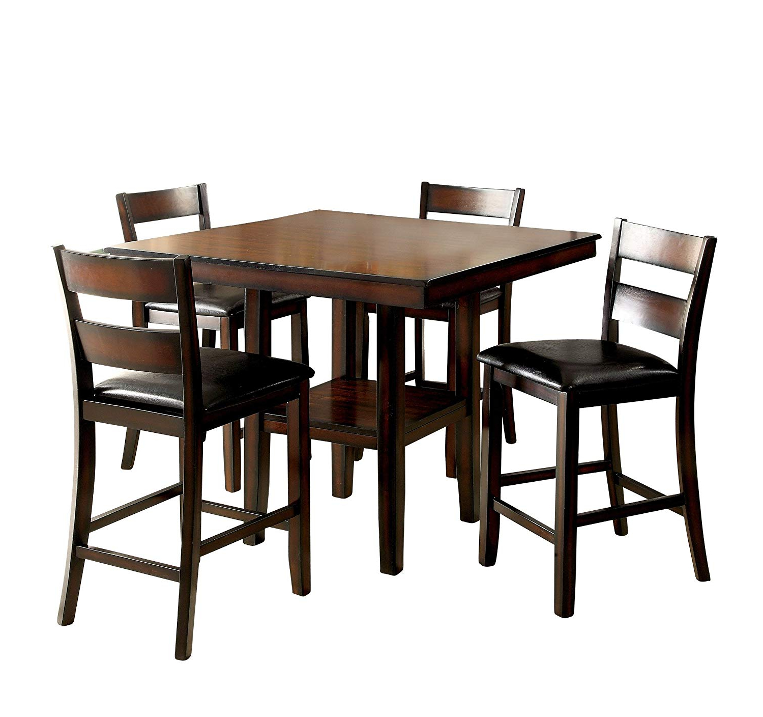 Current Homes: Inside + Out Idf 3351Pt 5Pk Jerrison Transitional 5 Piece Dining Set With Atwood Transitional Square Dining Tables (View 16 of 30)